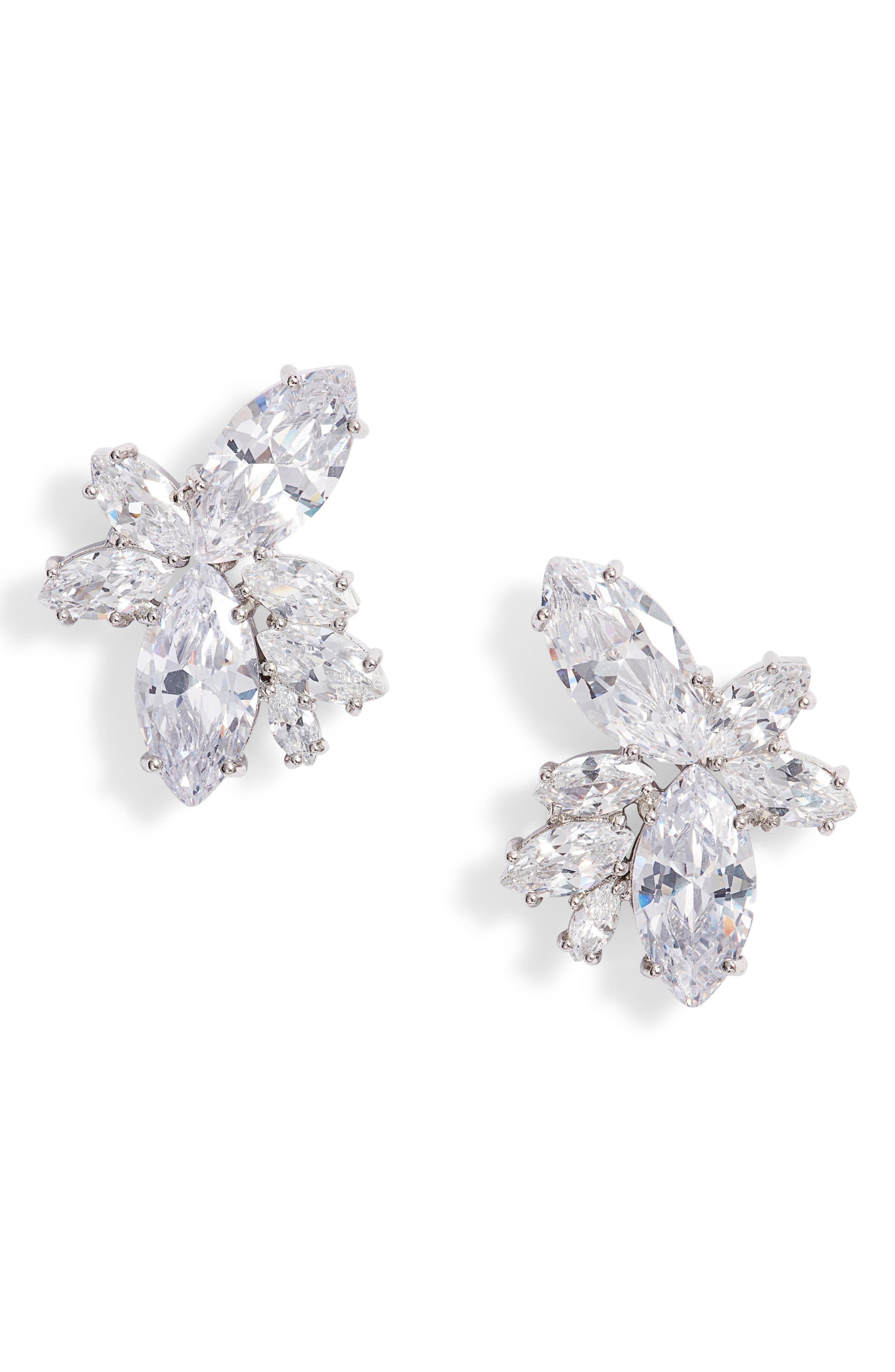 Floral Stone Cluster Stud Earrings,                         Main,                         color, Silver/ White Cz