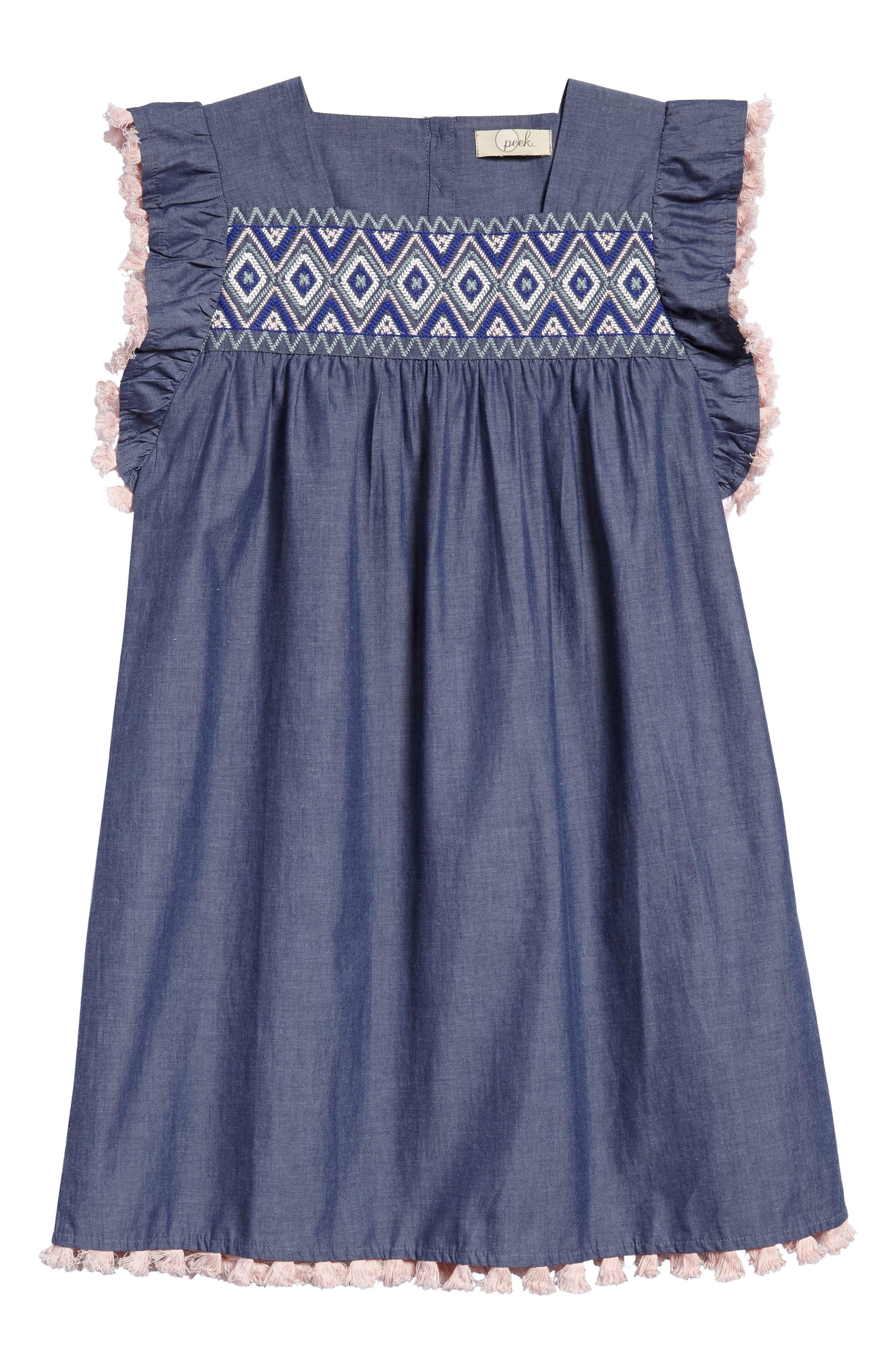Sophia Embroidered Dress,                             Main thumbnail 1, color,                             Chambray