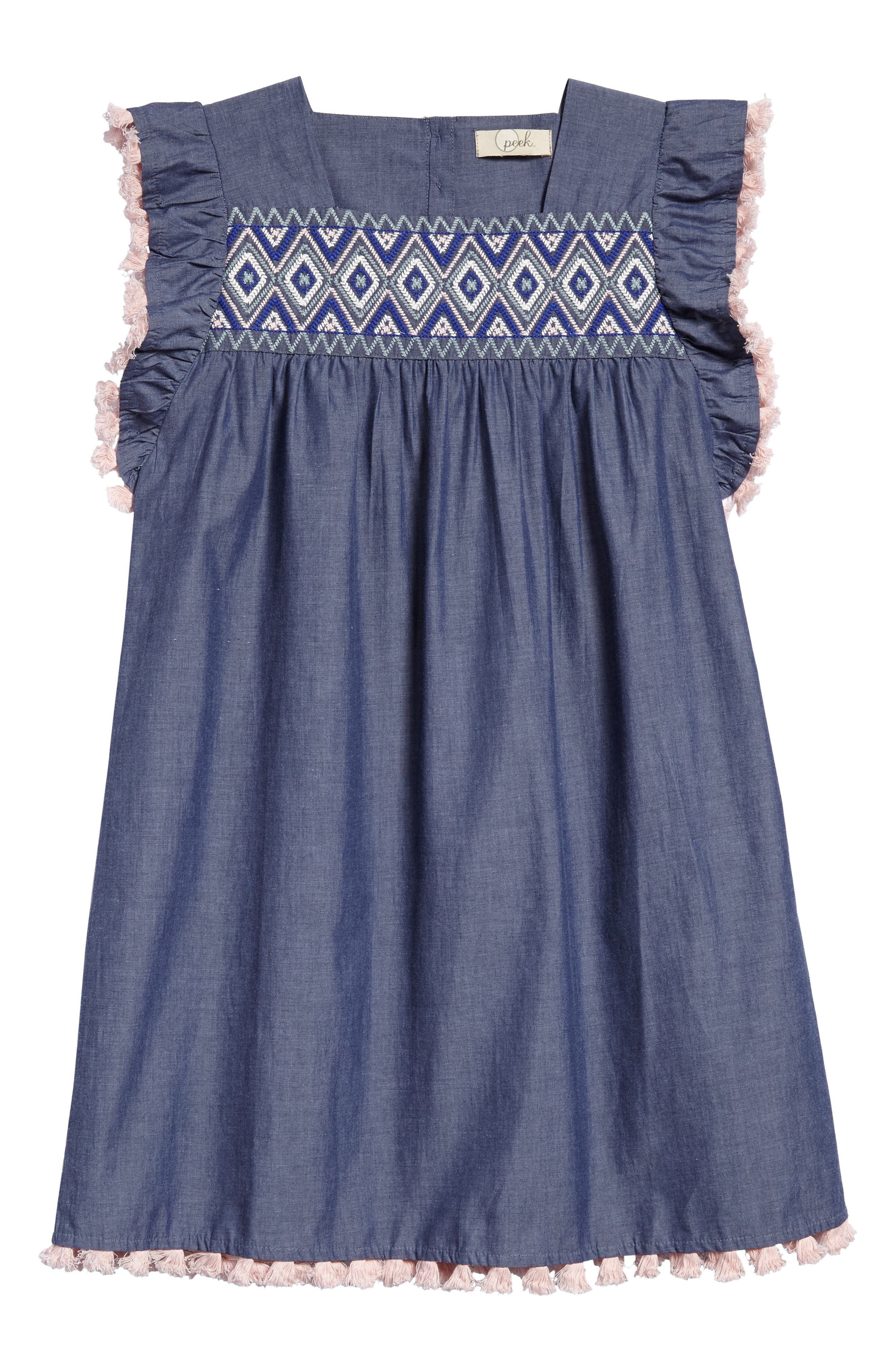 Sophia Embroidered Dress,                         Main,                         color, Chambray