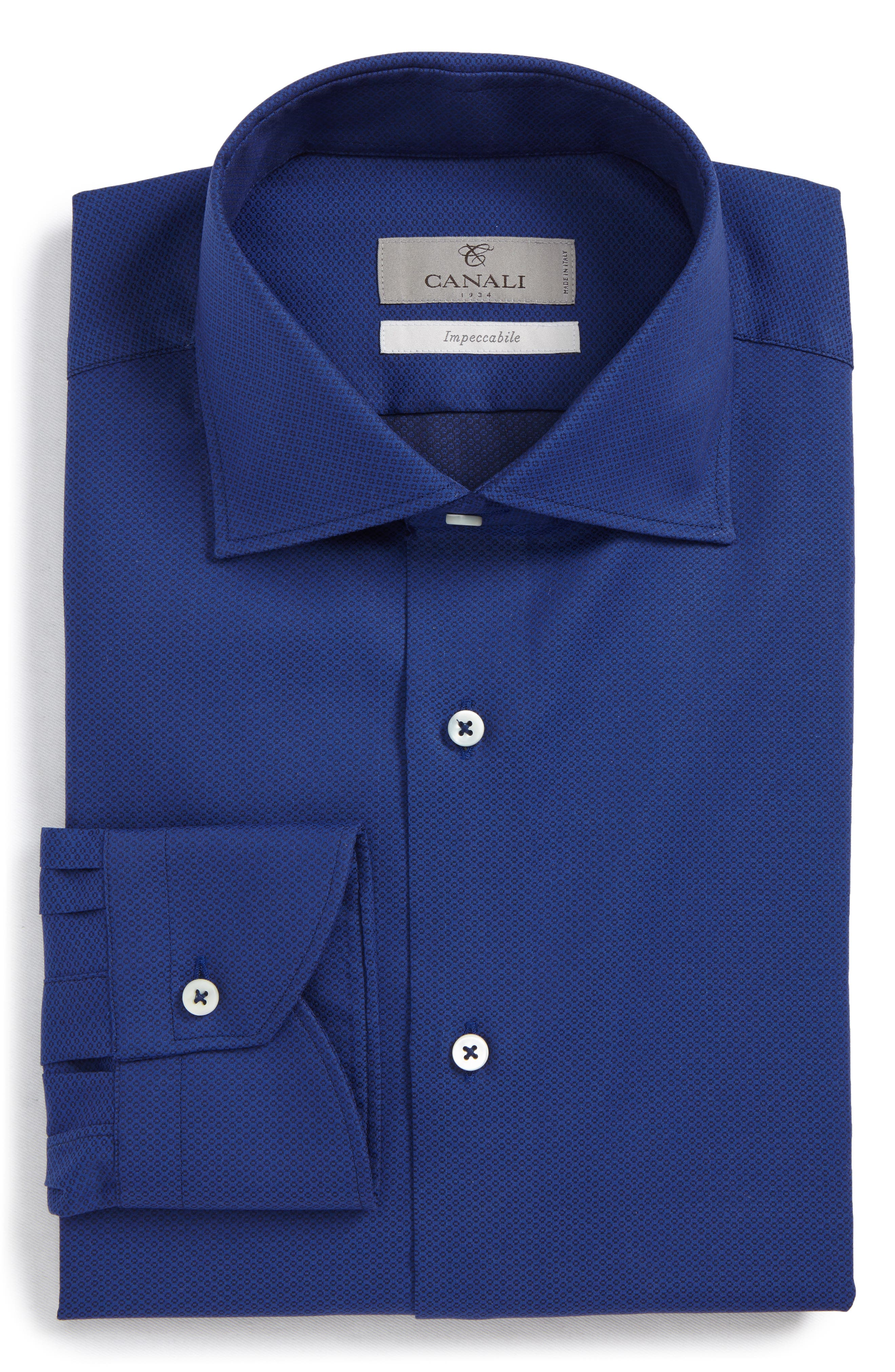Regular Fit Geometric Dress Shirt,                         Main,                         color, Dark Blue