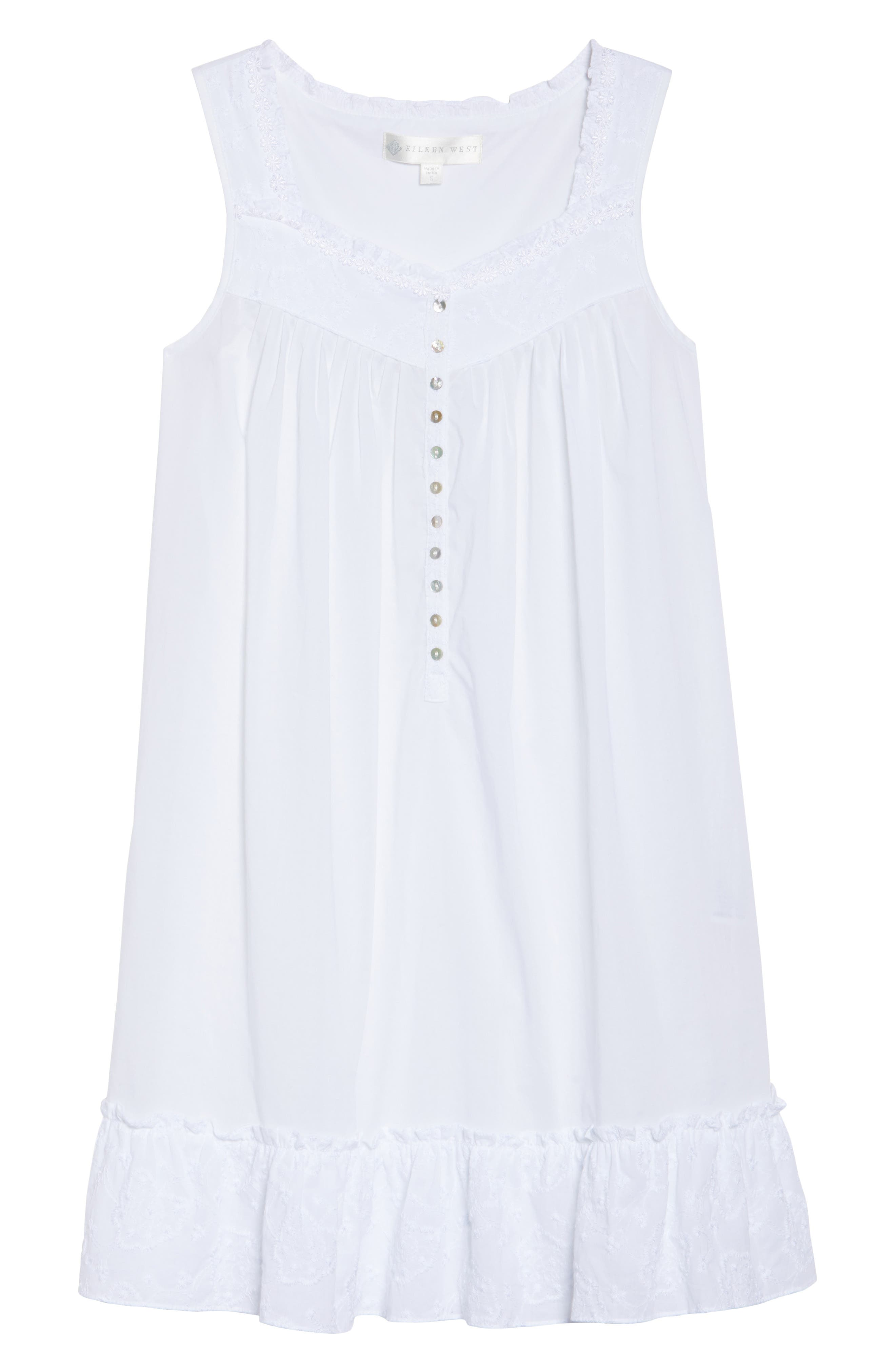Embroidered Cotton Nightgown,                             Alternate thumbnail 4, color,                             White Floral Embroidery