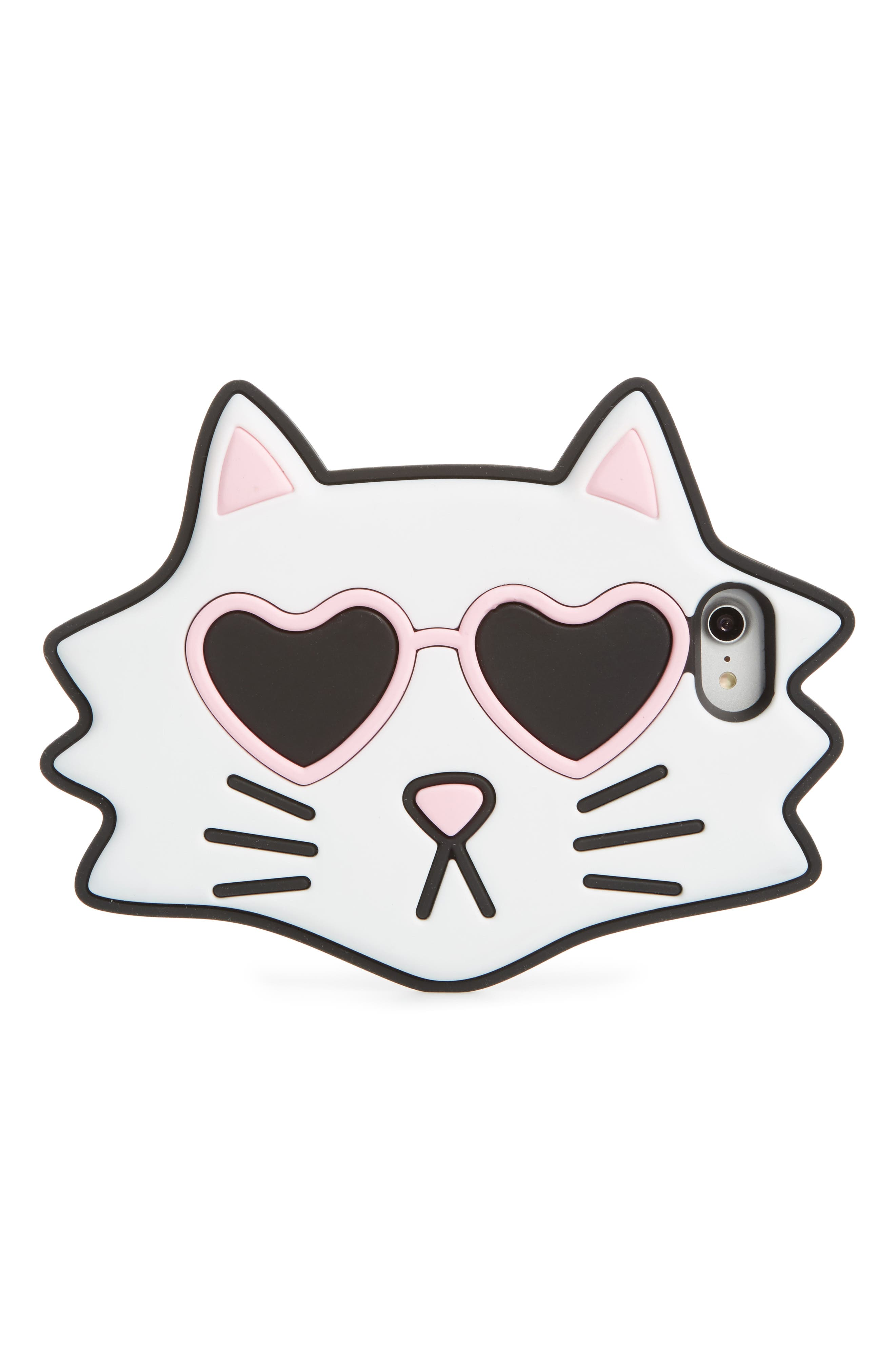 Oversize Cat iPhone 7/8 Case with Chain,                             Main thumbnail 1, color,                             White/ Black/ Pink