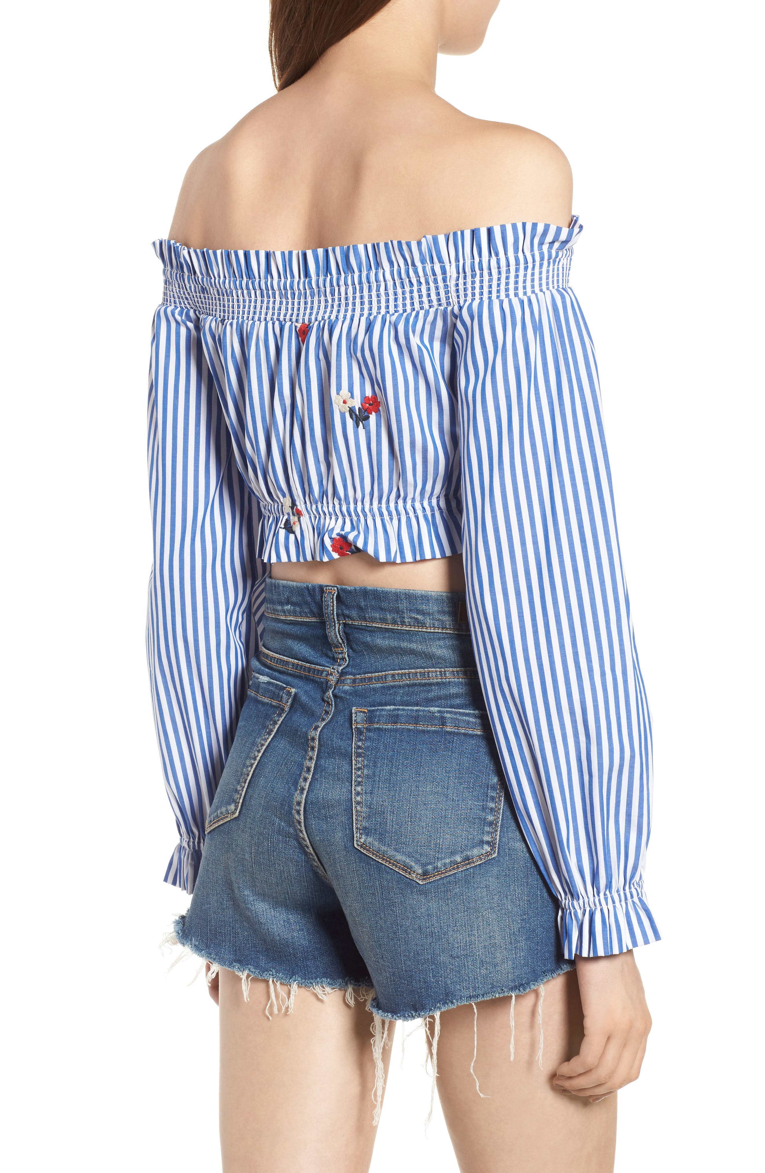 Chloe + Katie Embroidered Off the Shoulder Crop Top,                             Alternate thumbnail 2, color,                             Blue/ White Stripe