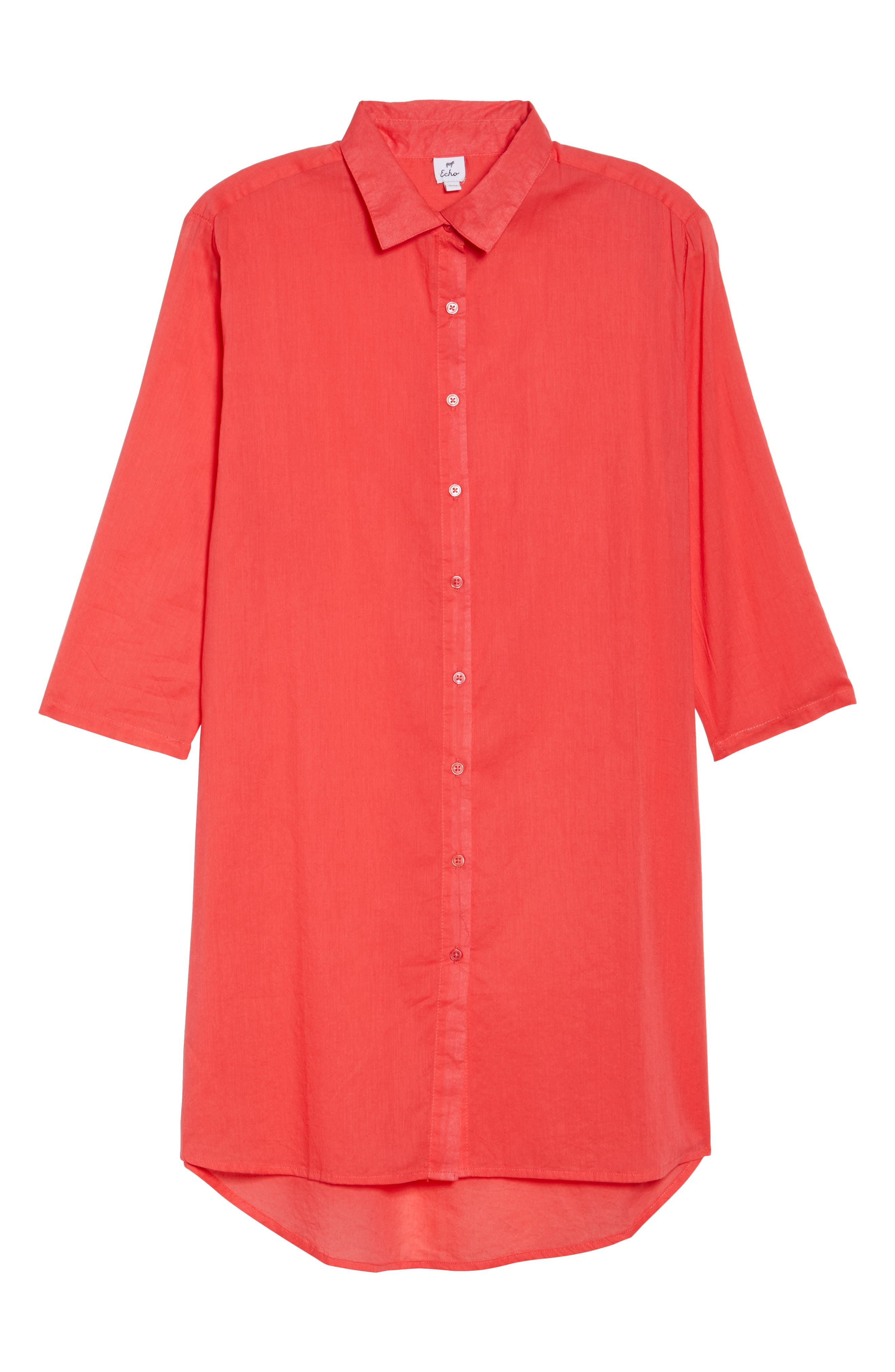 Solid Cover-Up Dress,                             Alternate thumbnail 6, color,                             Hibiscus