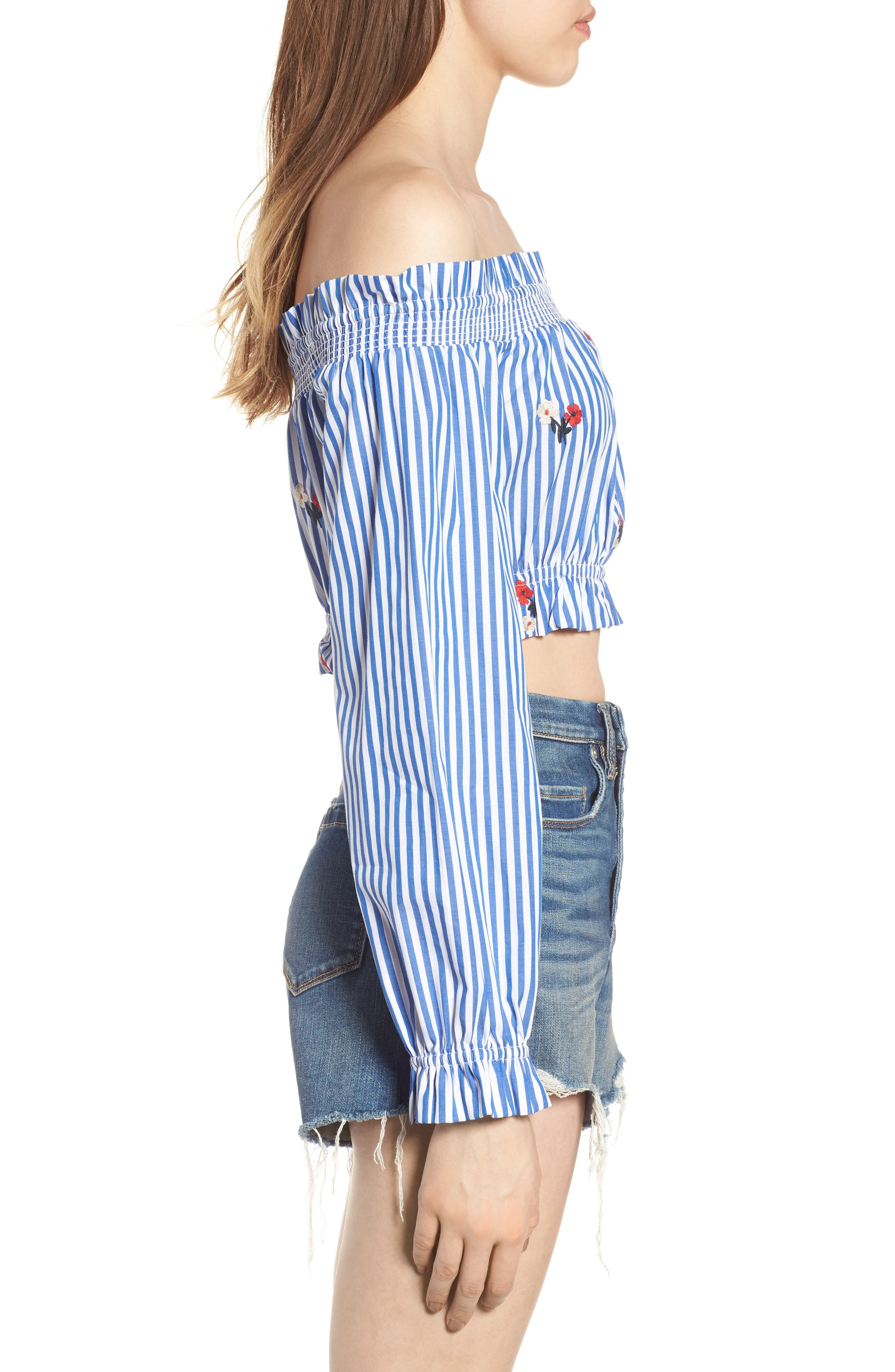 Chloe + Katie Embroidered Off the Shoulder Crop Top,                             Alternate thumbnail 3, color,                             Blue/ White Stripe