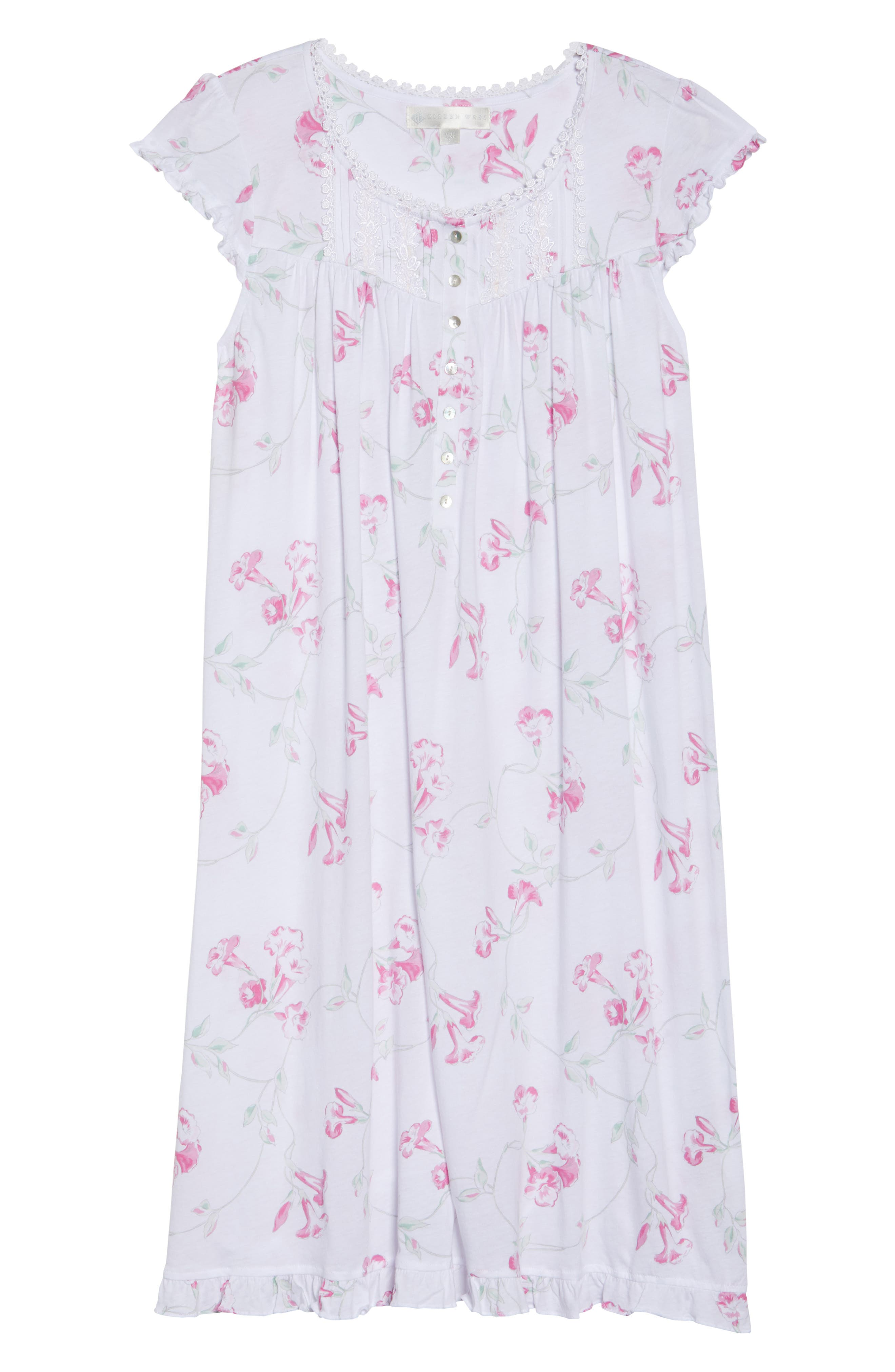 Floral Print Nightgown,                             Alternate thumbnail 4, color,                             White Floral Scroll