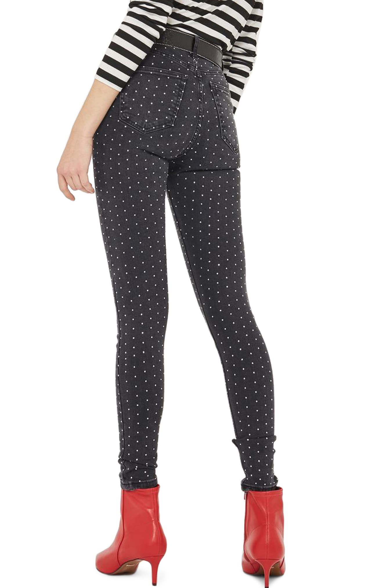 Jamie Diamante Skinny Jeans,                             Alternate thumbnail 2, color,                             Washed Black