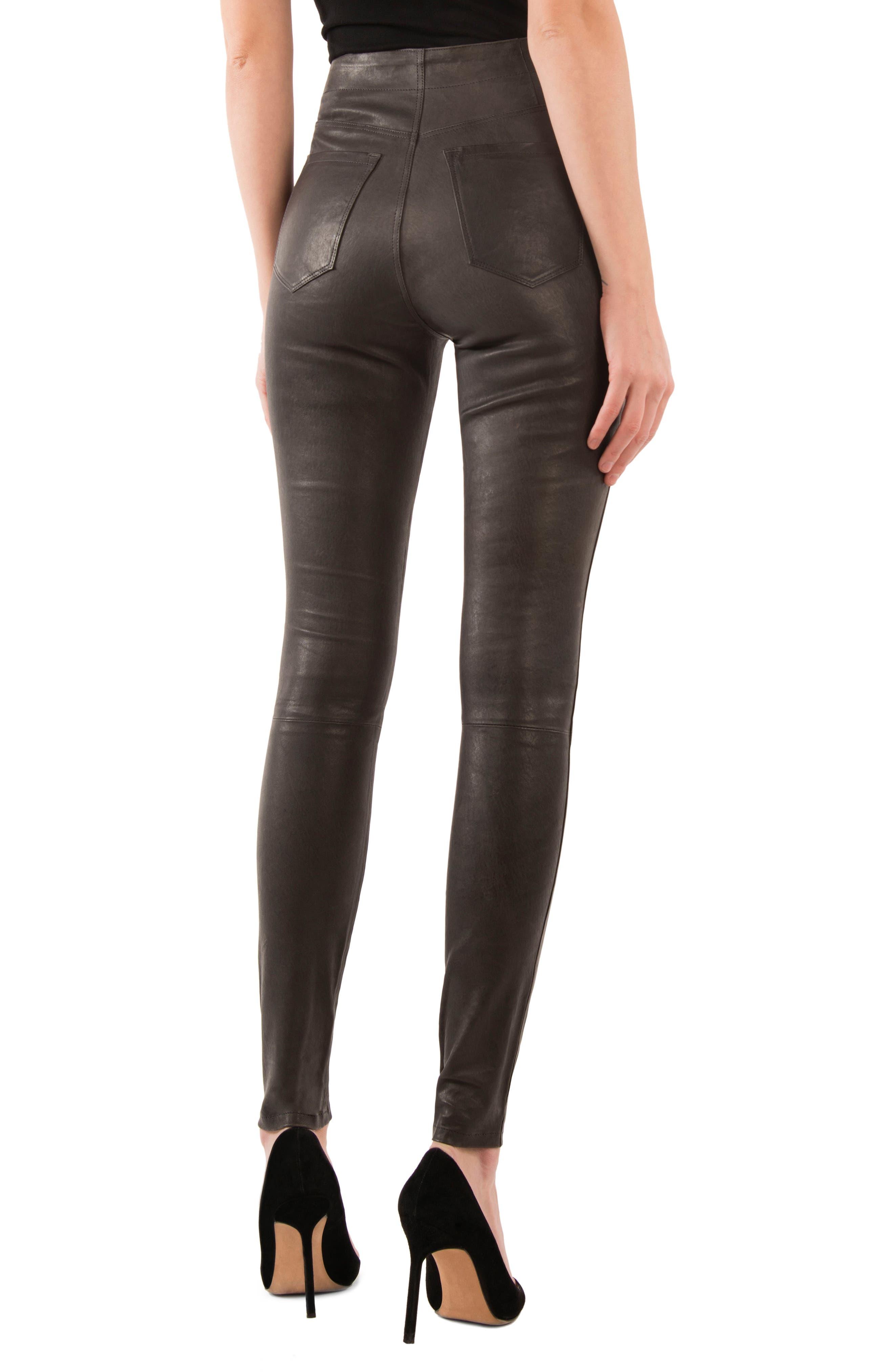 Natasha High Waist Skinny Leather Pants,                             Alternate thumbnail 2, color,                             Dark Platinum