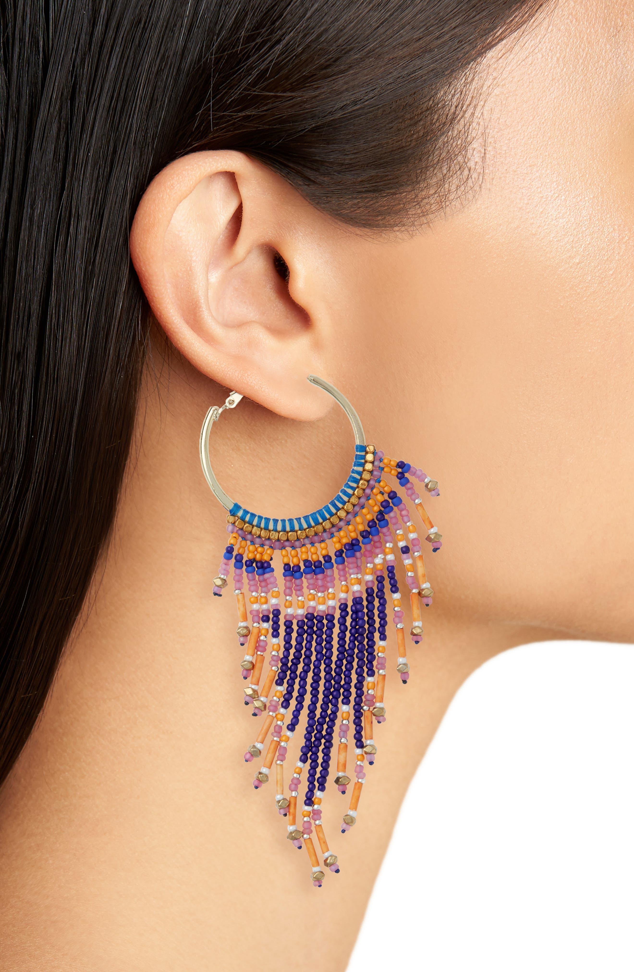 Beaded Fringe Hoop Earrings,                             Alternate thumbnail 2, color,                             Multi