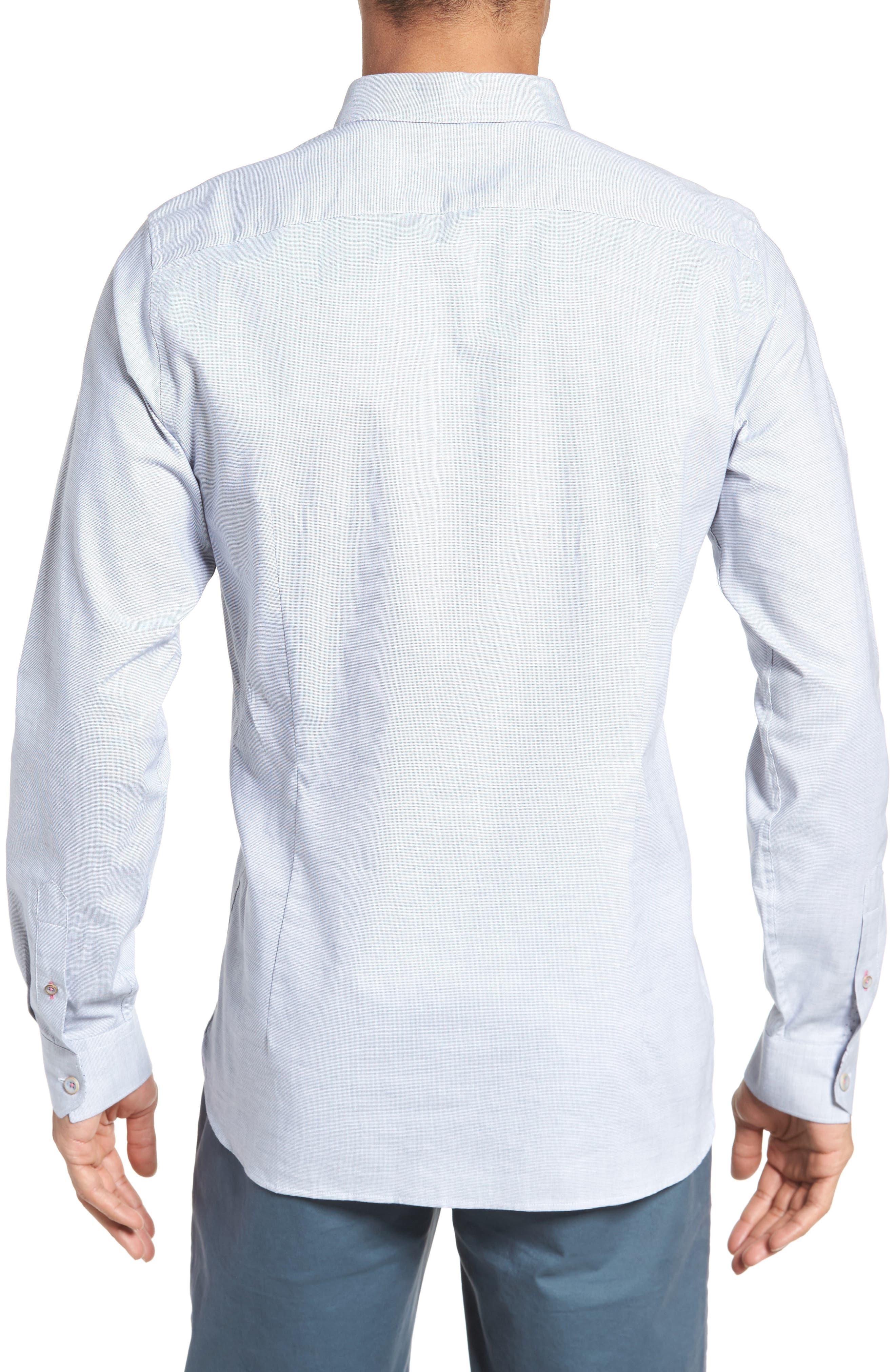 Slim Fit Textured Sport Shirt,                             Alternate thumbnail 3, color,                             Grey
