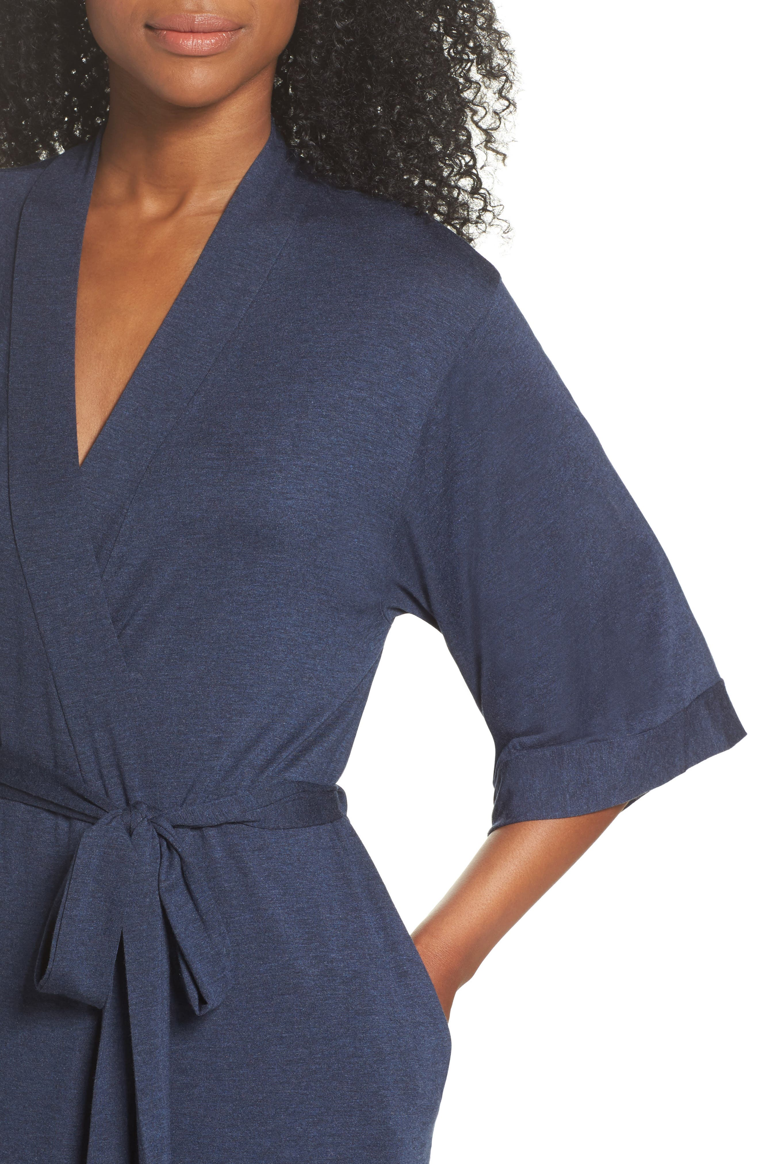 Jersey Robe,                             Alternate thumbnail 5, color,                             Navy