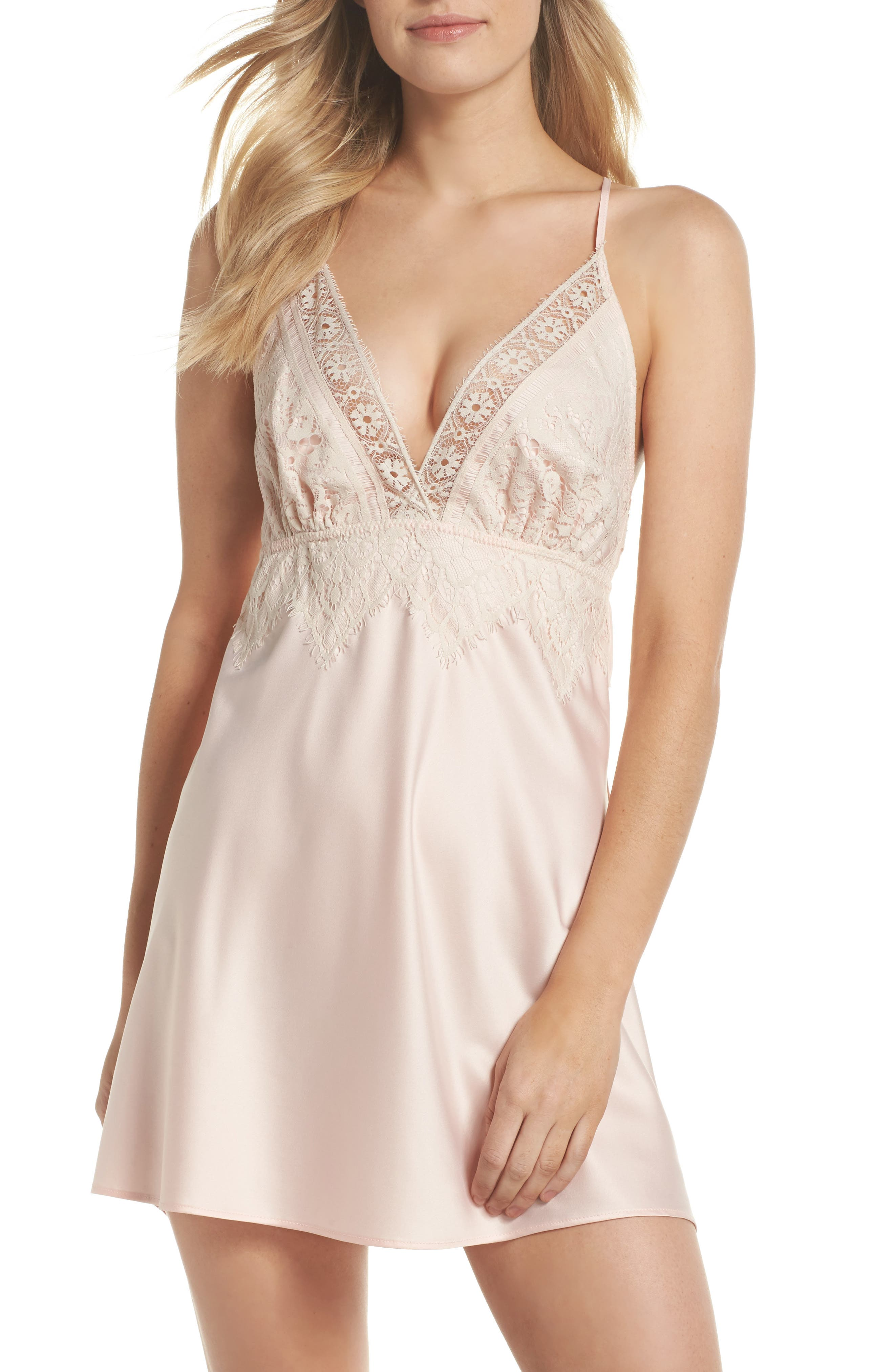 Alternate Image 1 Selected - Flora Nikrooz Lace & Charmeuse Chemise