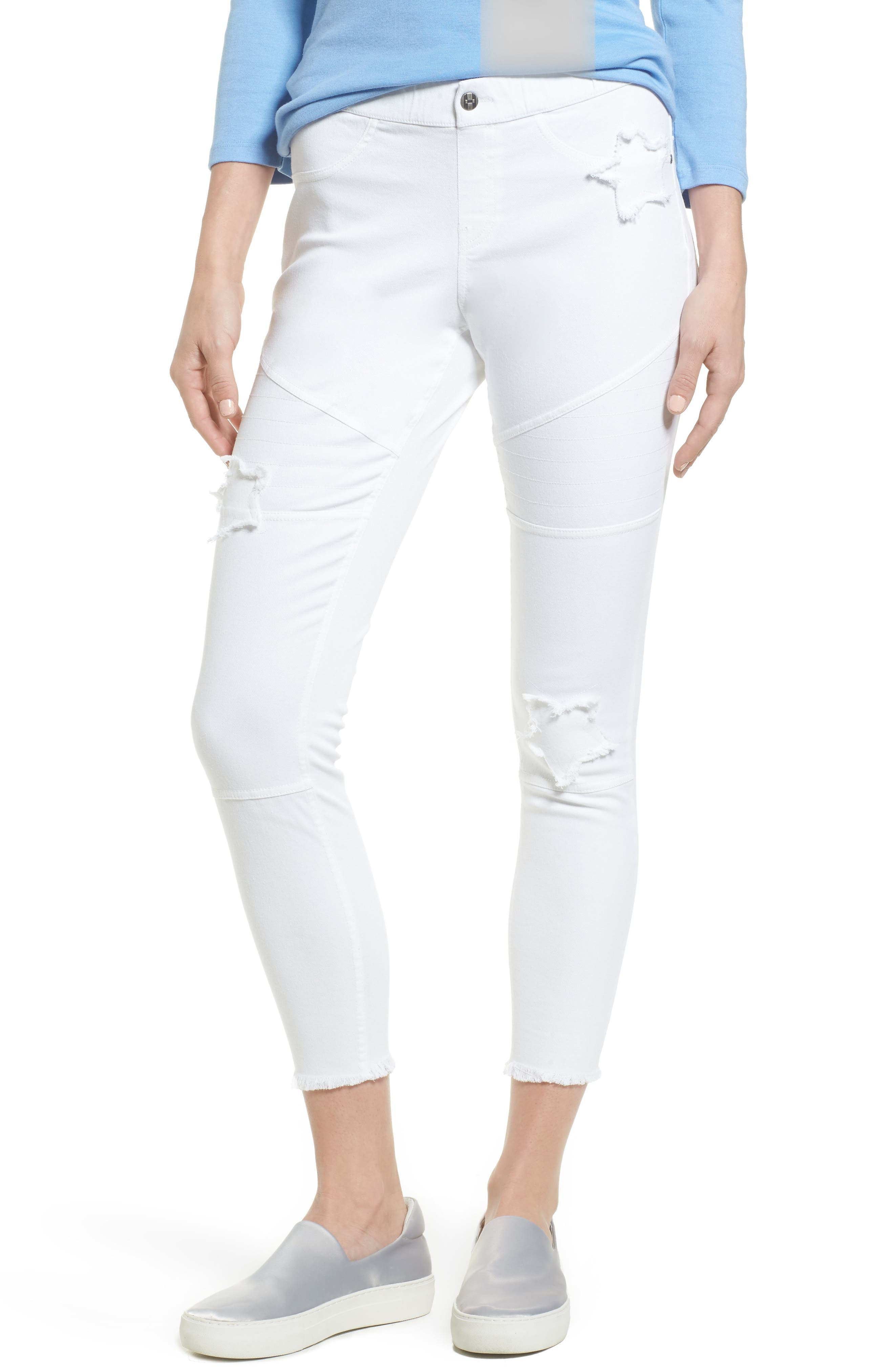 Star Patch Denim Moto Skimmer Leggings,                         Main,                         color, White