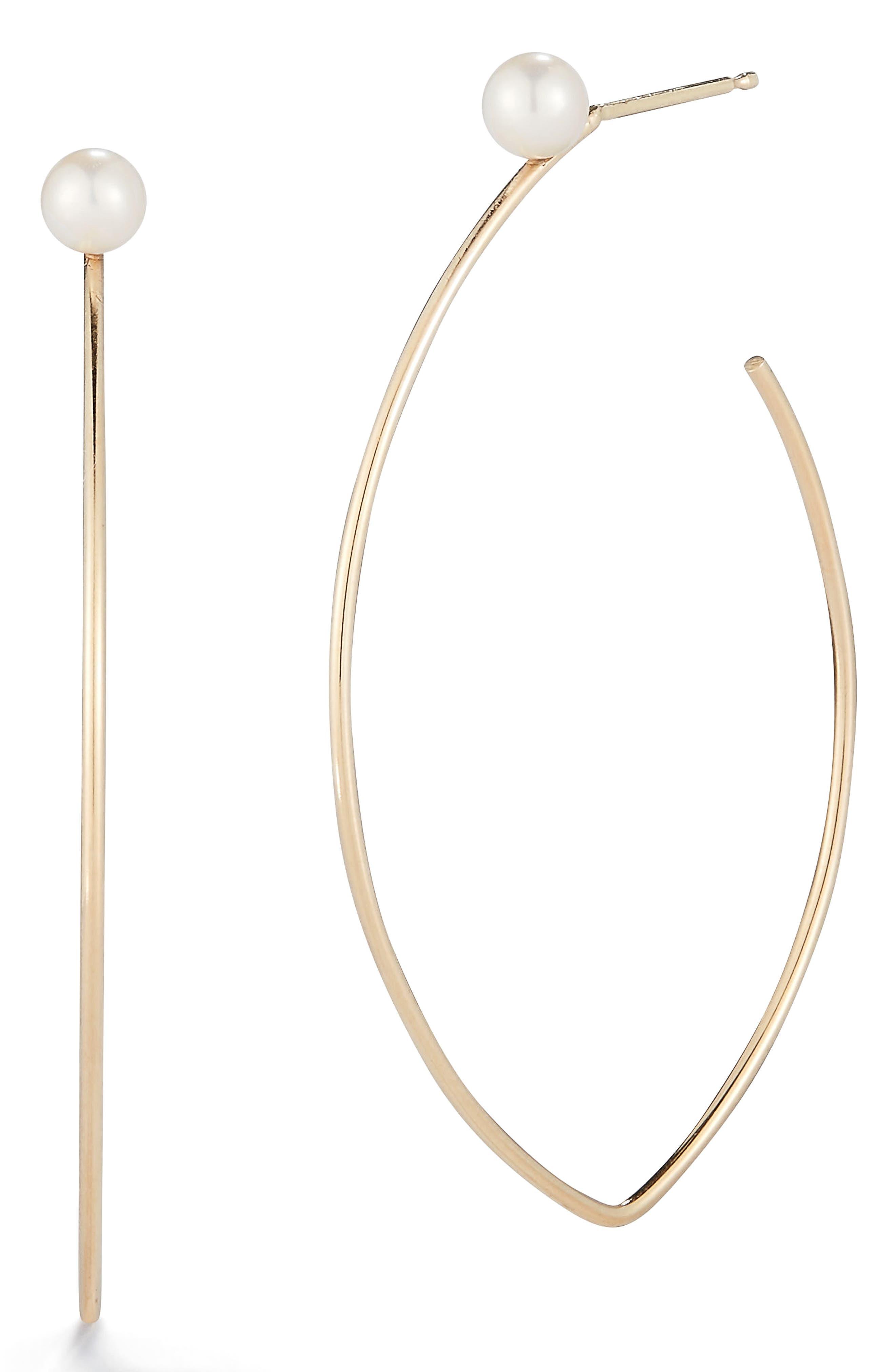 Mizuki Pearl Marquise Hoop Earrings