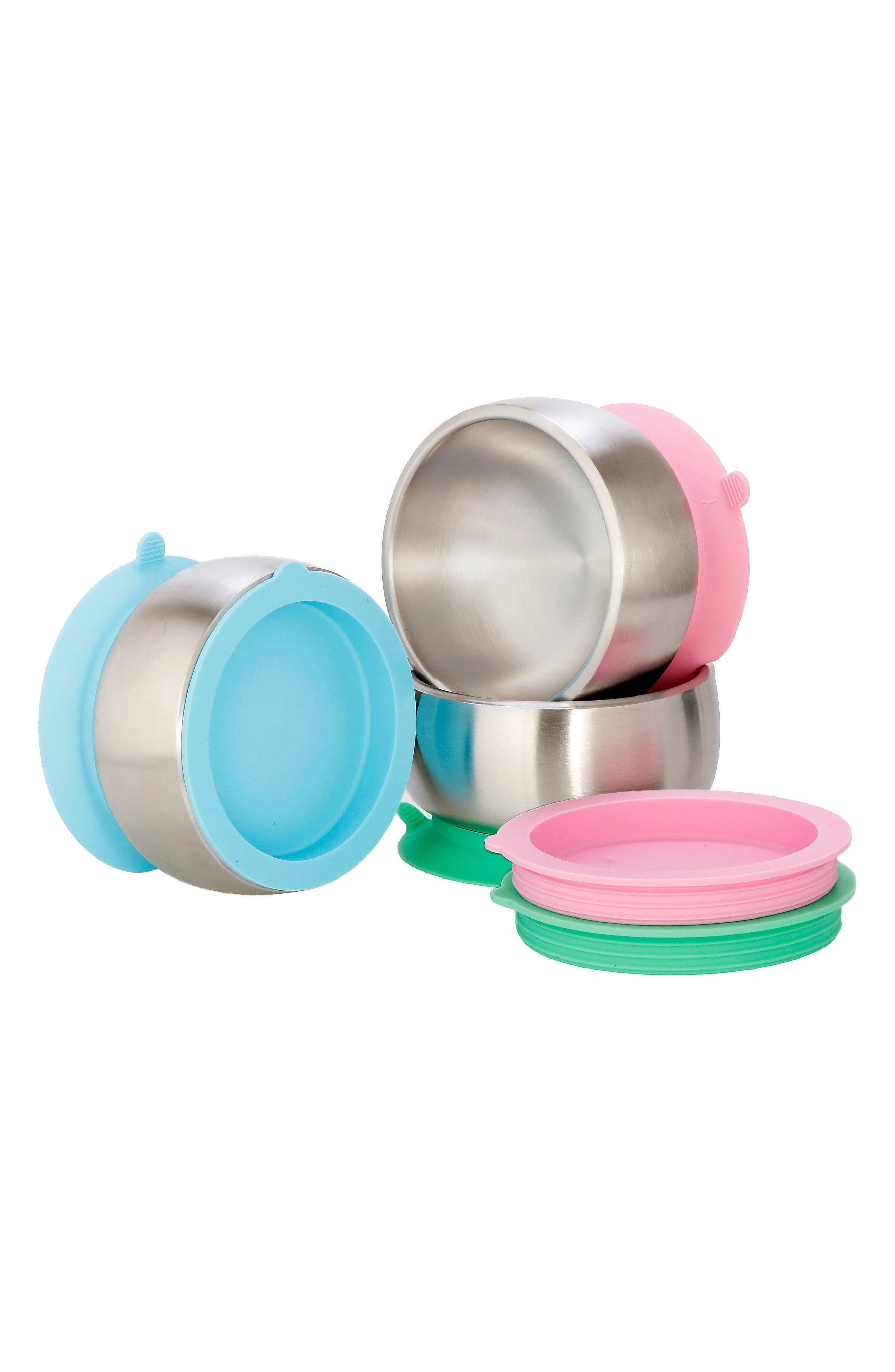 Stainless Steel Stay-Put Suction Bowl & Lid,                             Alternate thumbnail 4, color,                             Pink
