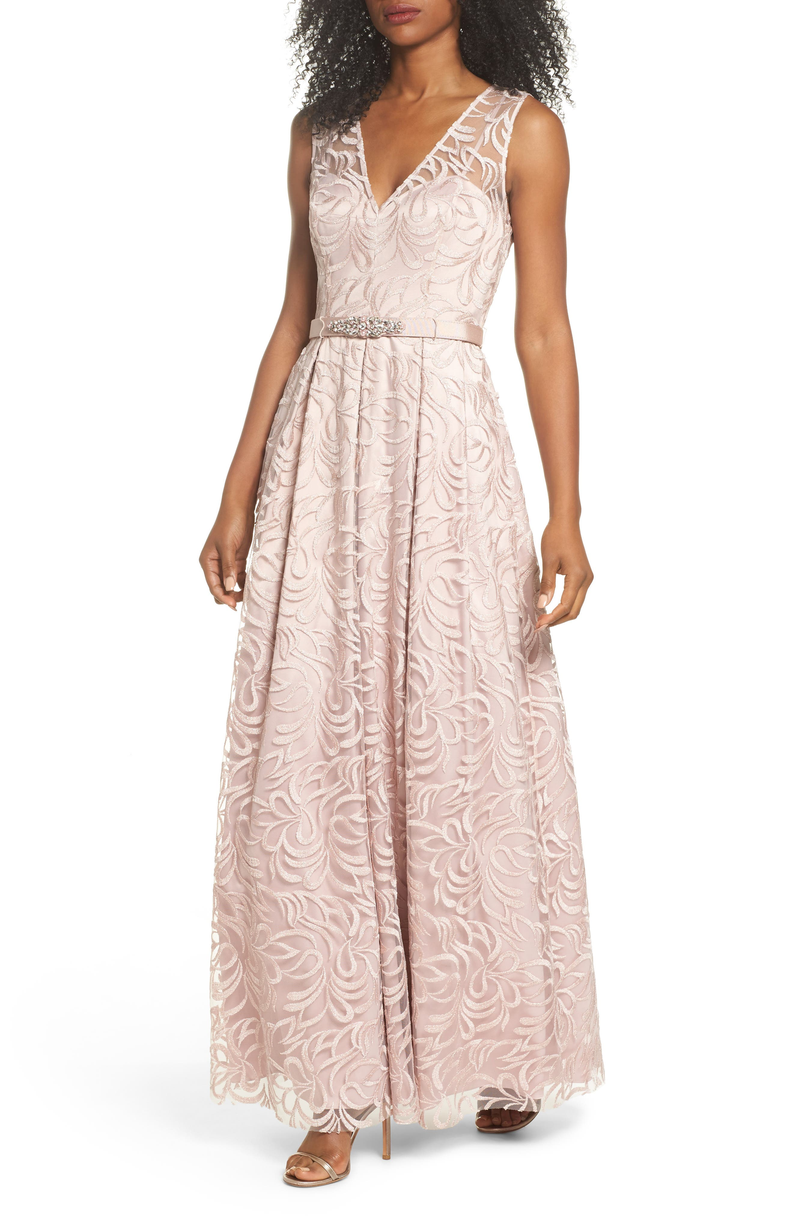 Belted Embroidered Gown,                             Main thumbnail 1, color,                             Blush