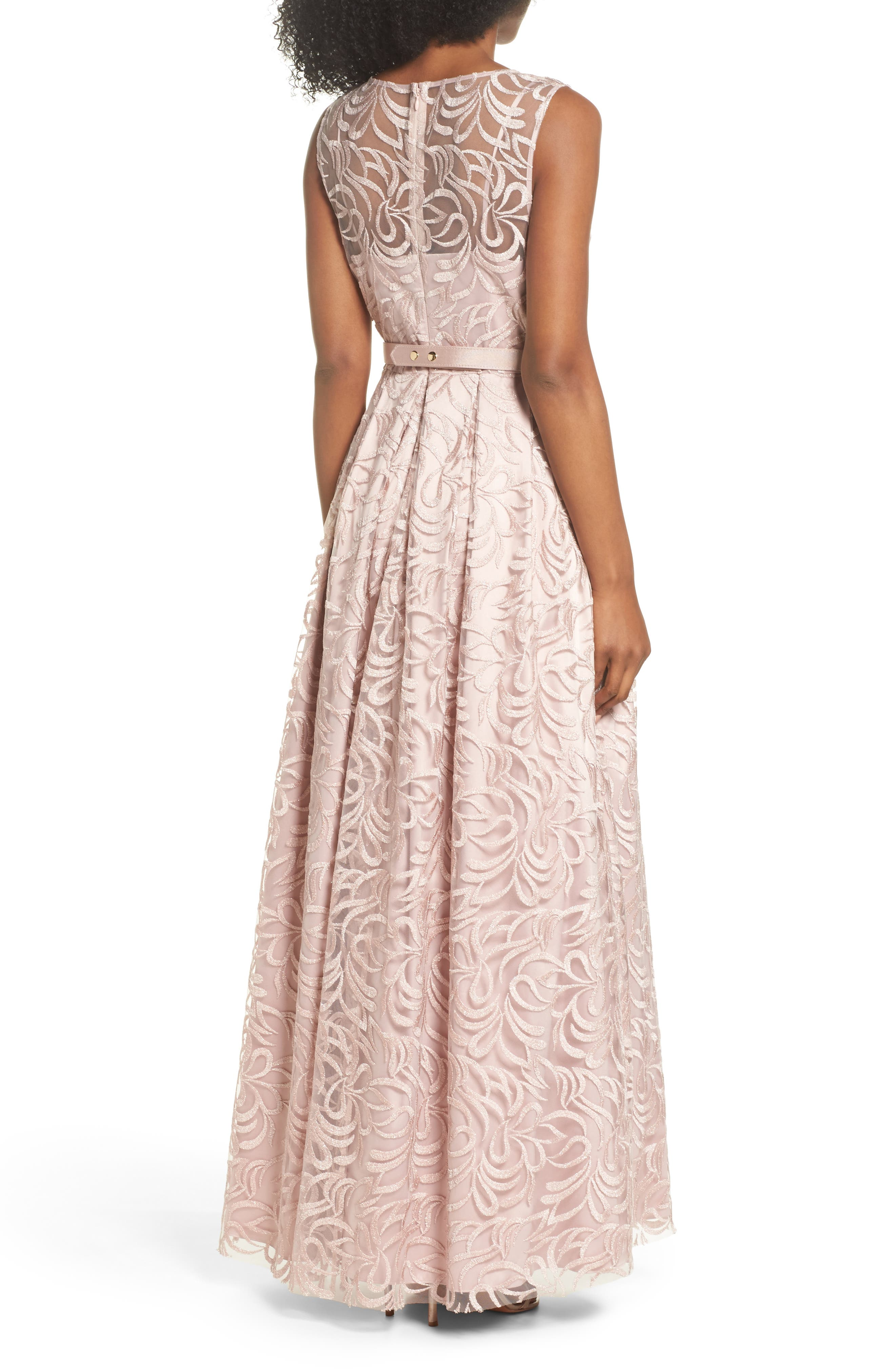 Belted Embroidered Gown,                             Alternate thumbnail 2, color,                             Blush