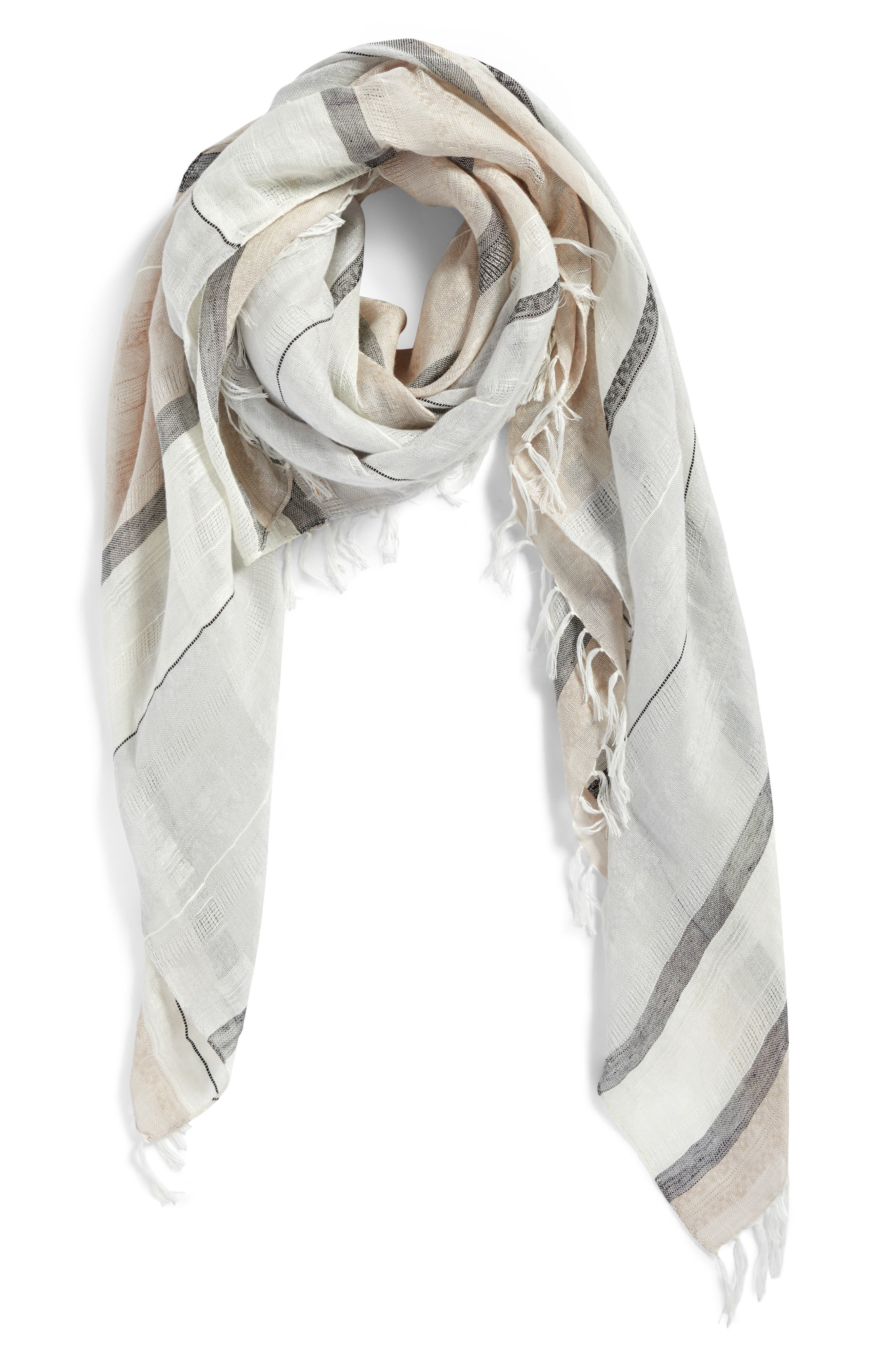 Stripe Scarf,                             Alternate thumbnail 2, color,                             Grey- Combo