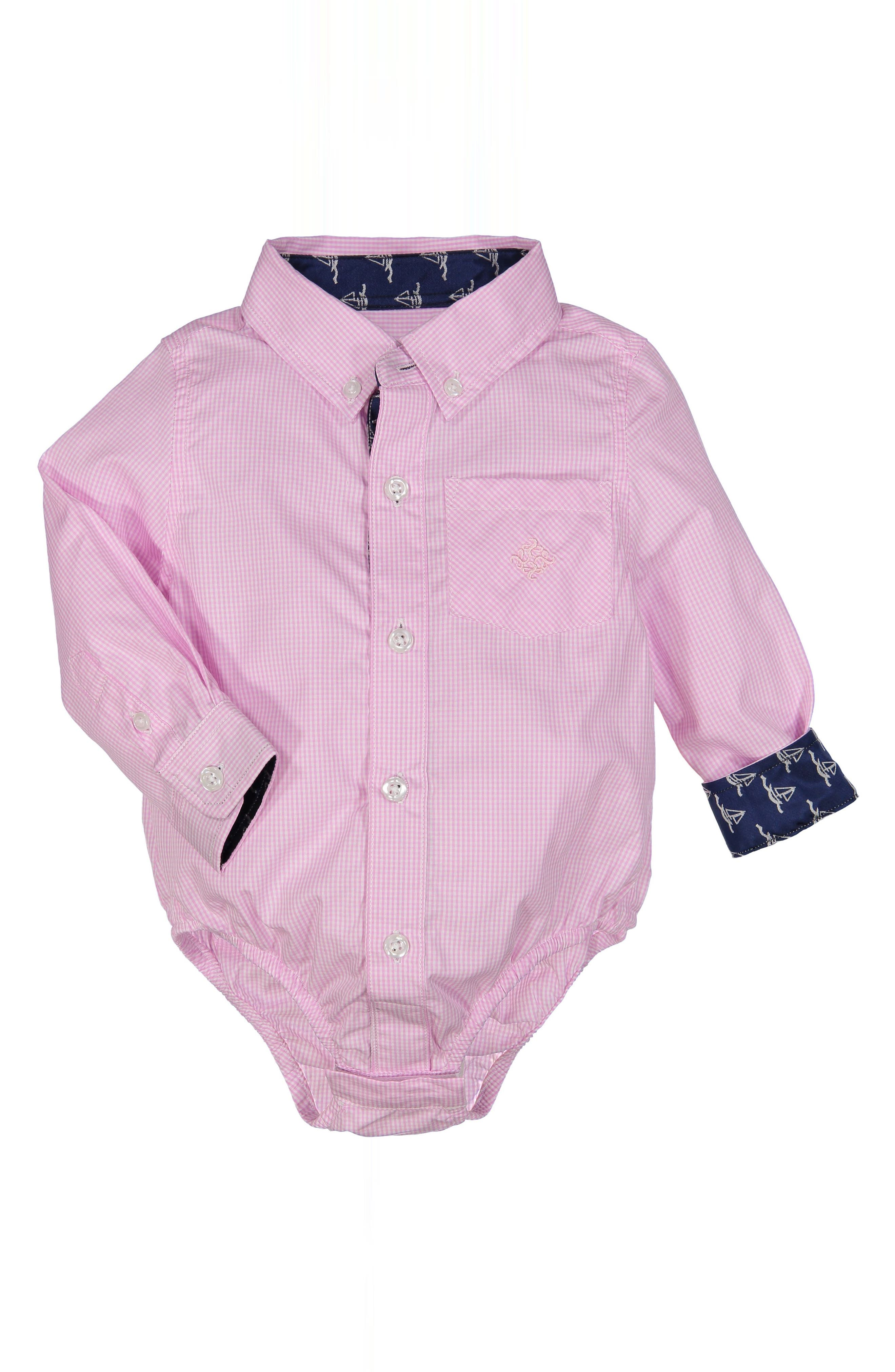 Shirtzie Microcheck Bodysuit,                             Main thumbnail 1, color,                             Pink