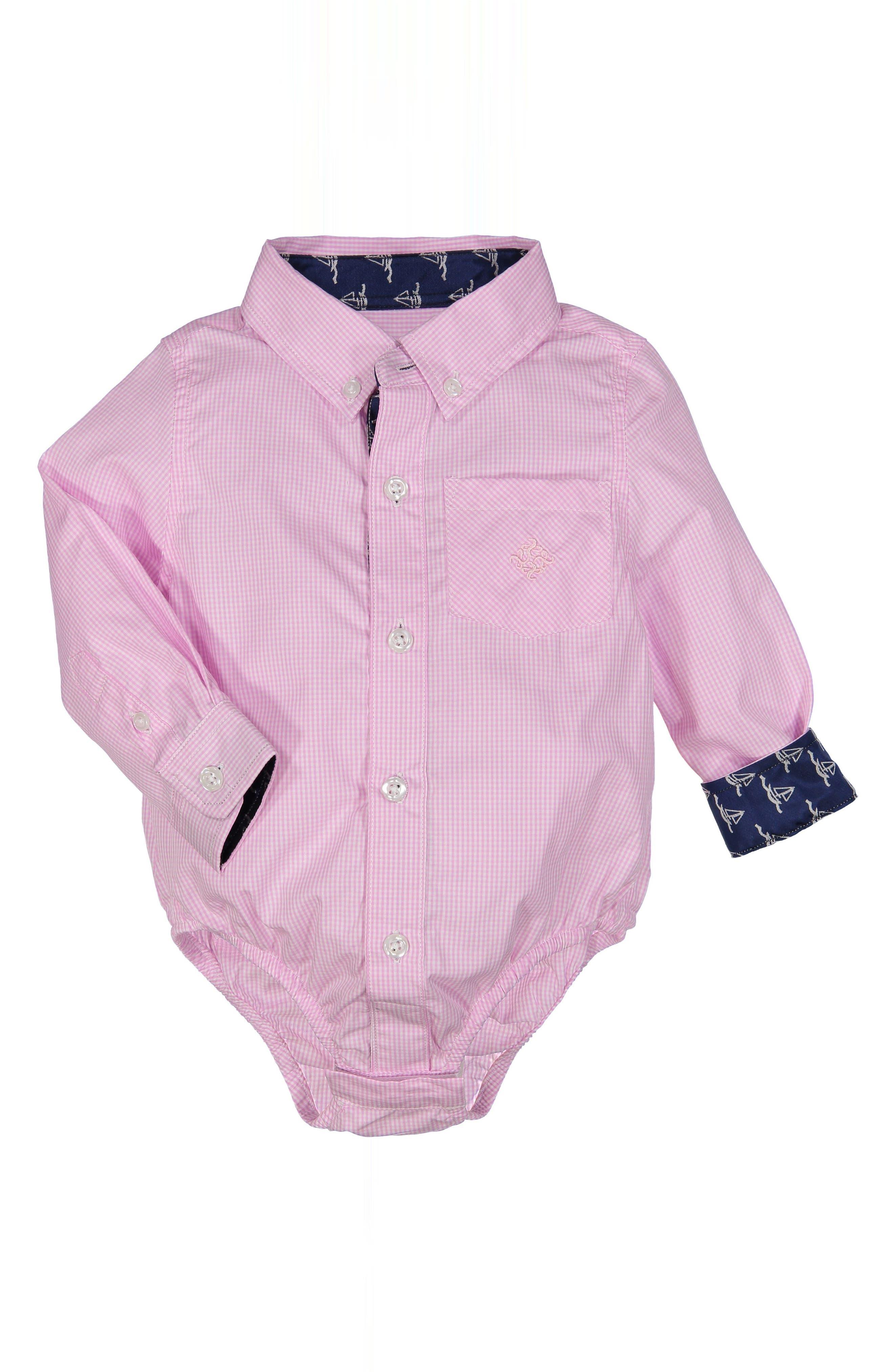 Shirtzie Microcheck Bodysuit,                         Main,                         color, Pink