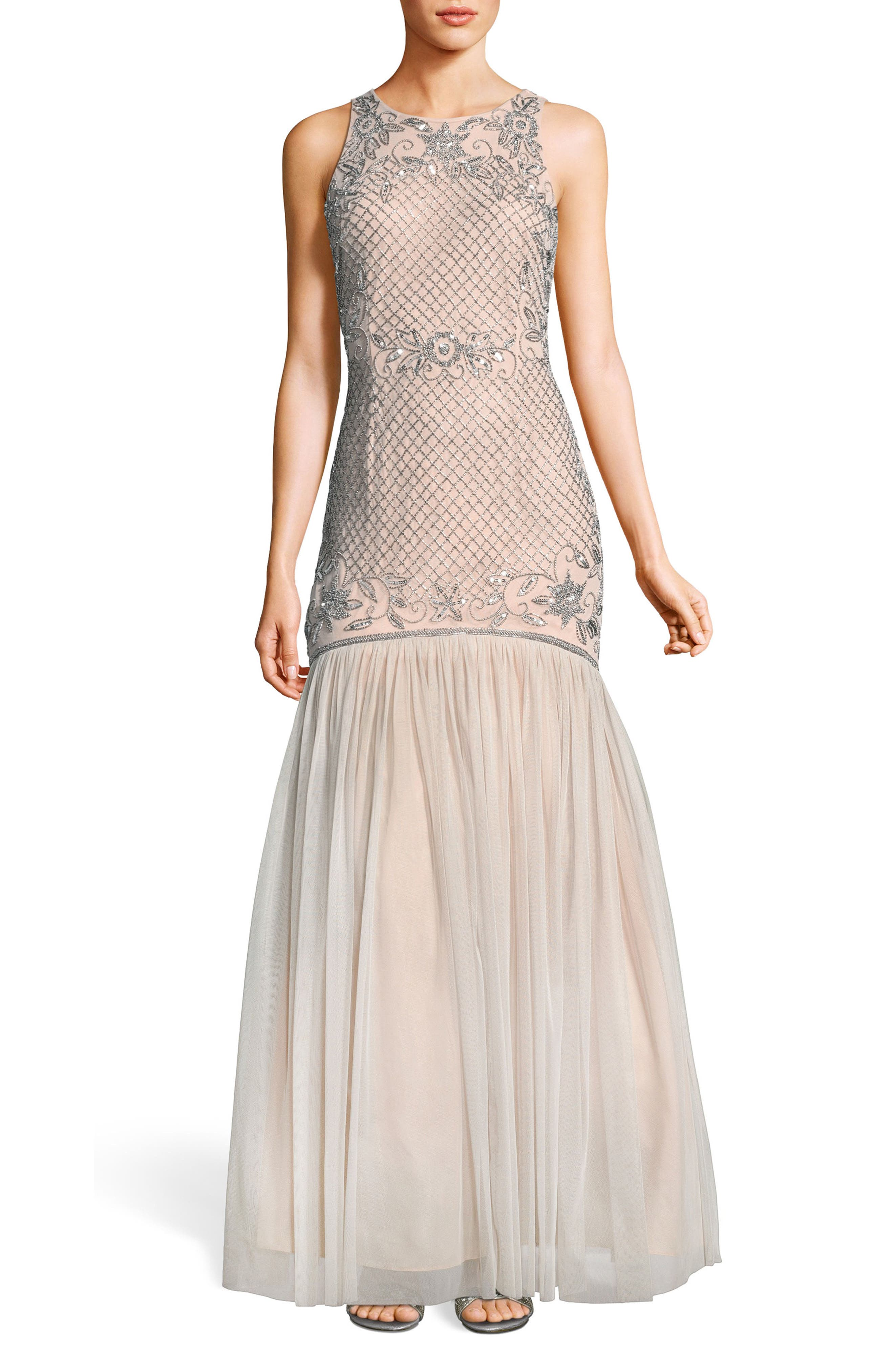 Beaded Tulle Trumpet Gown,                             Main thumbnail 1, color,                             Silver/ Nude