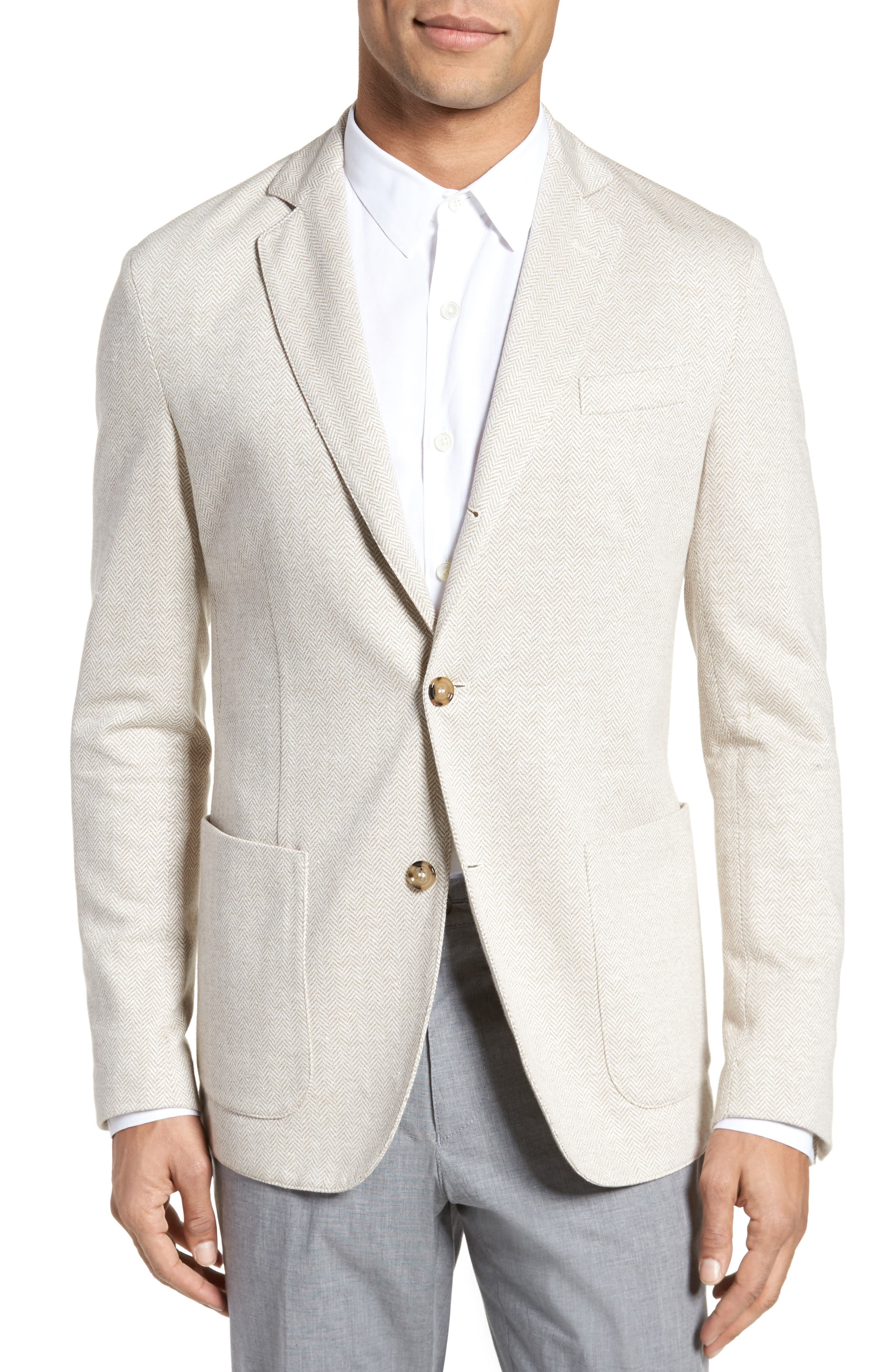 Trim Fit Herringbone Linen & Cotton Jacket,                             Main thumbnail 1, color,                             Sand