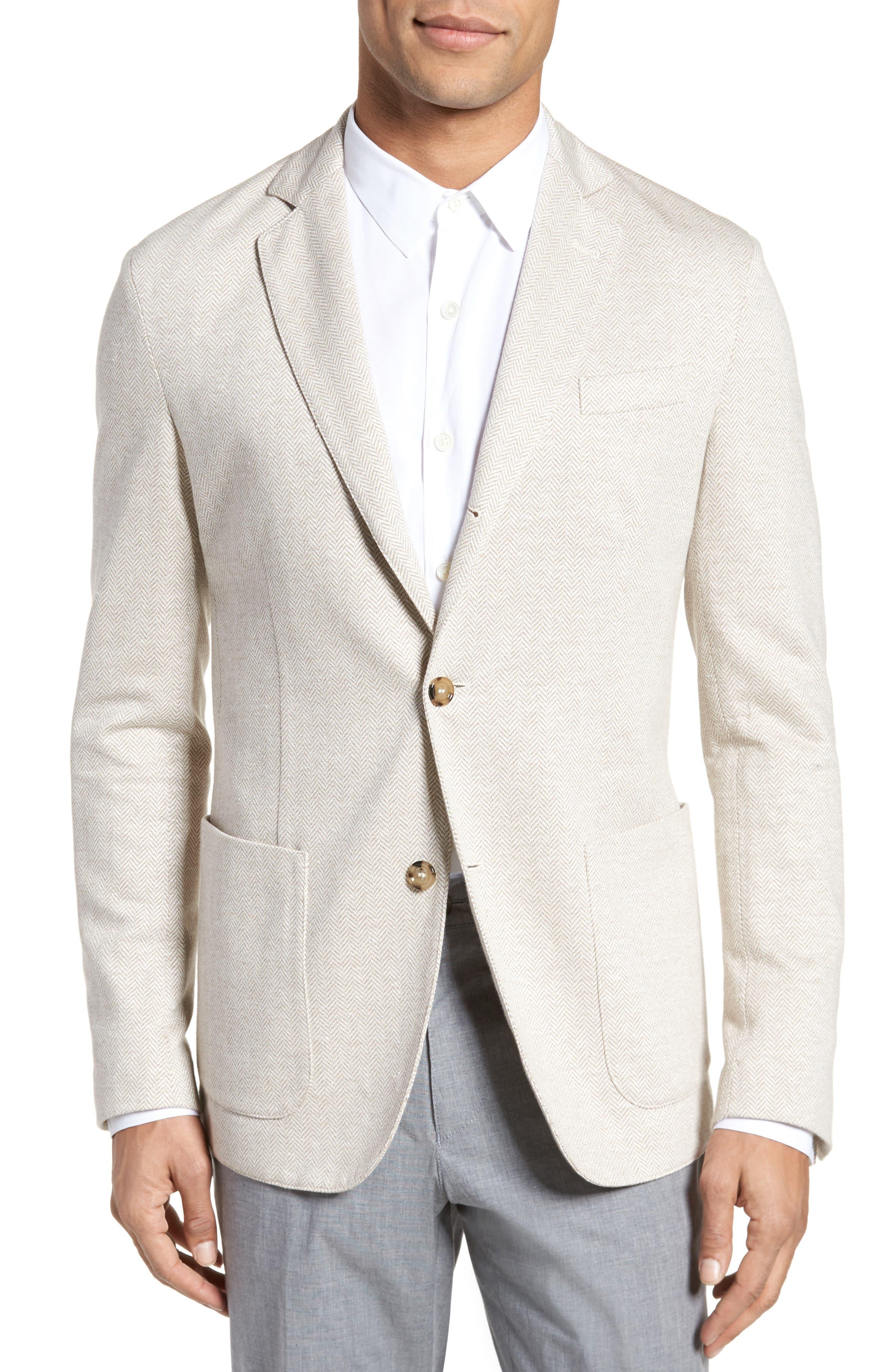 Trim Fit Herringbone Linen & Cotton Jacket,                         Main,                         color, Sand