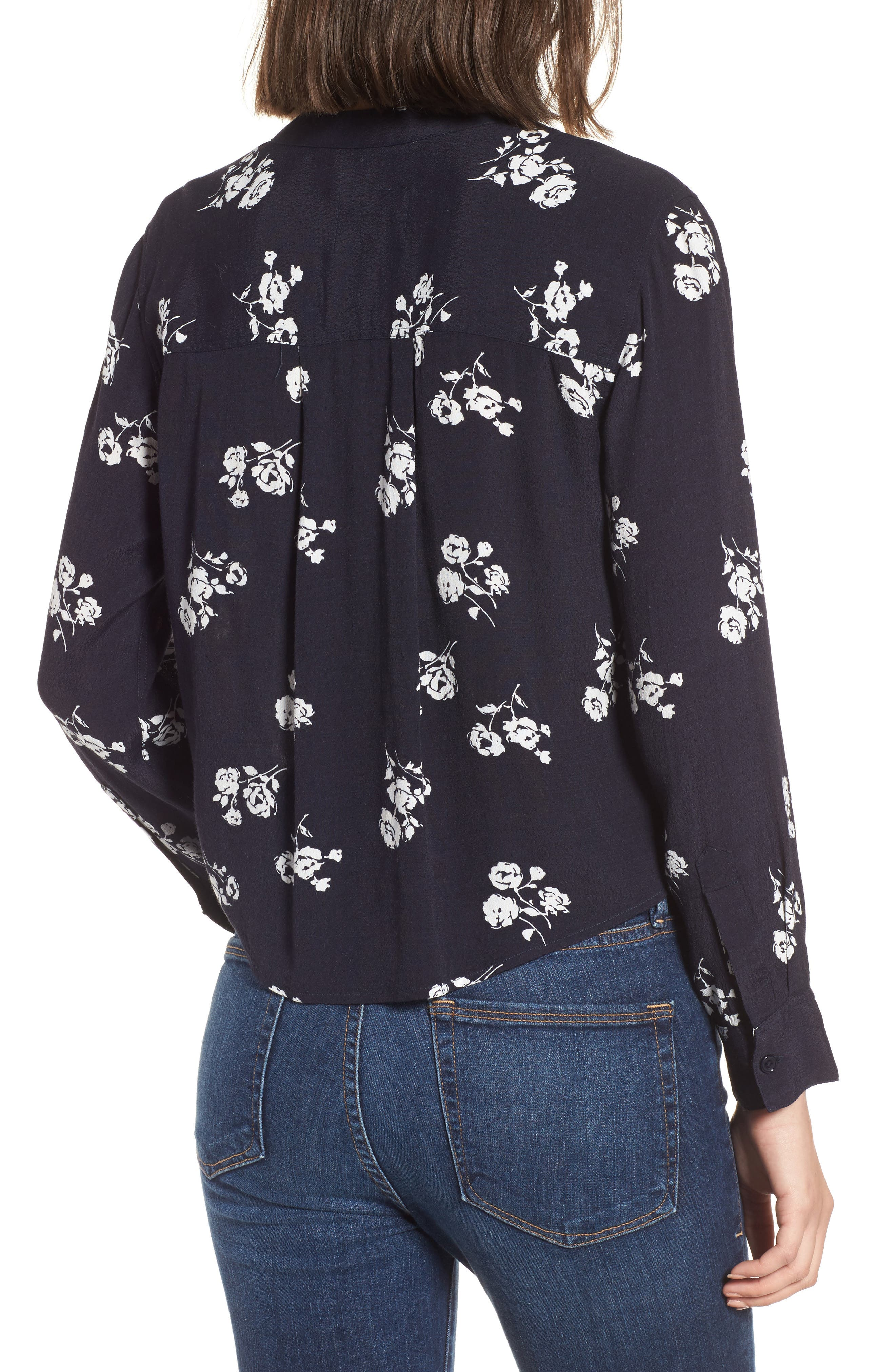 Rowena Tie Front Top,                             Alternate thumbnail 2, color,                             Navy White Floral