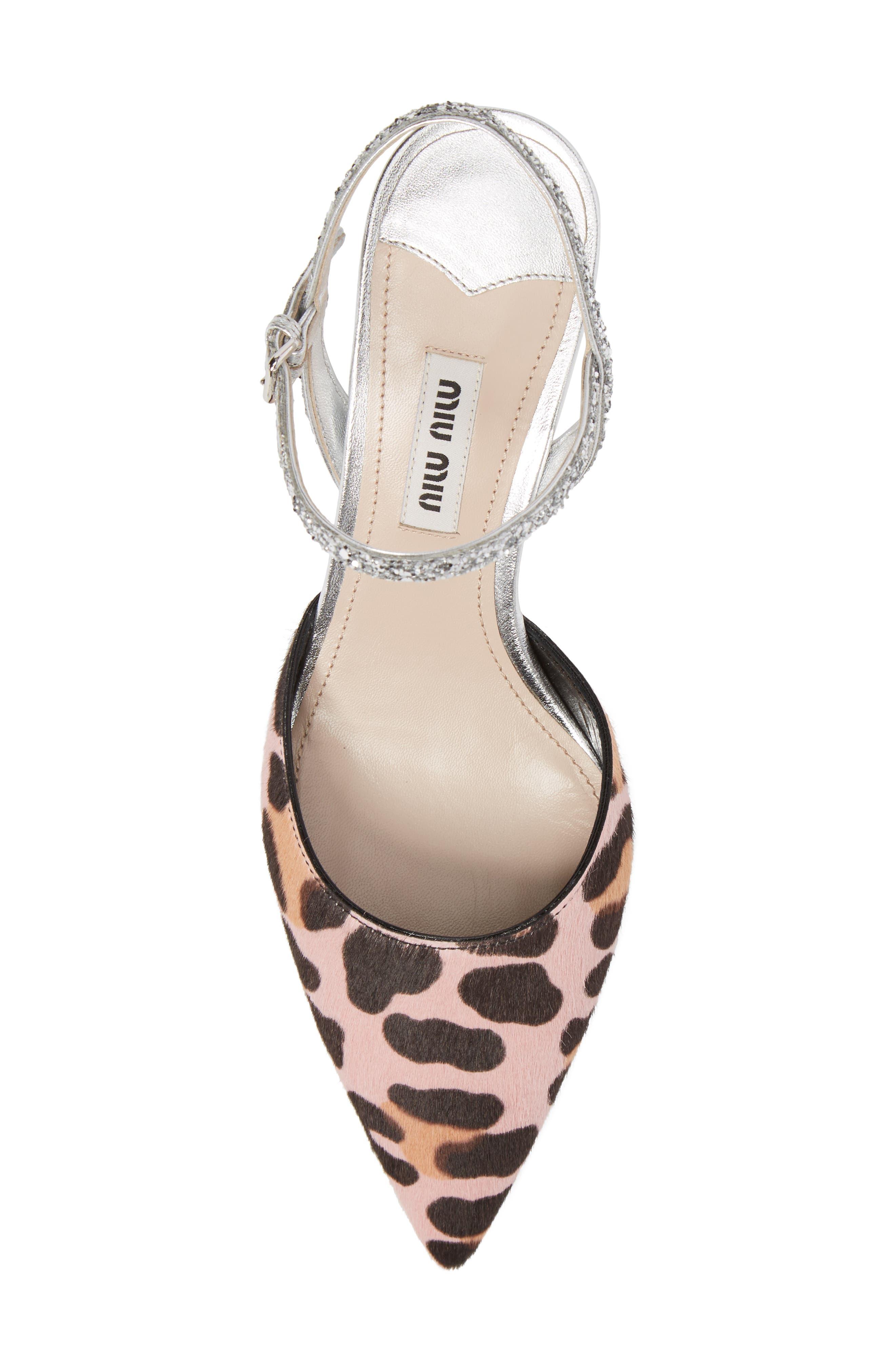 Genuine Calf Hair Pointy Toe Pump,                             Alternate thumbnail 4, color,                             Pink/ Black/ Silver