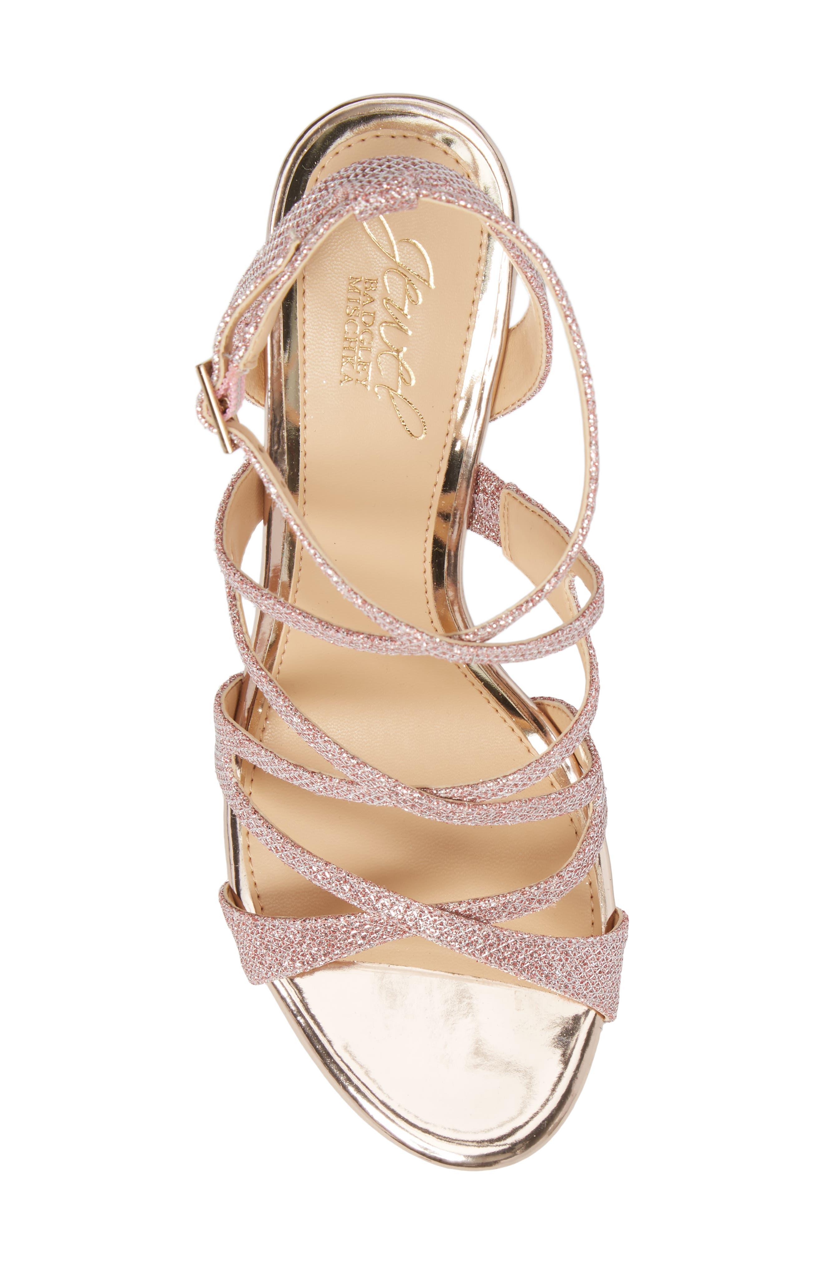Tasha Glitter Sandal,                             Alternate thumbnail 5, color,                             Rose Gold Glitter