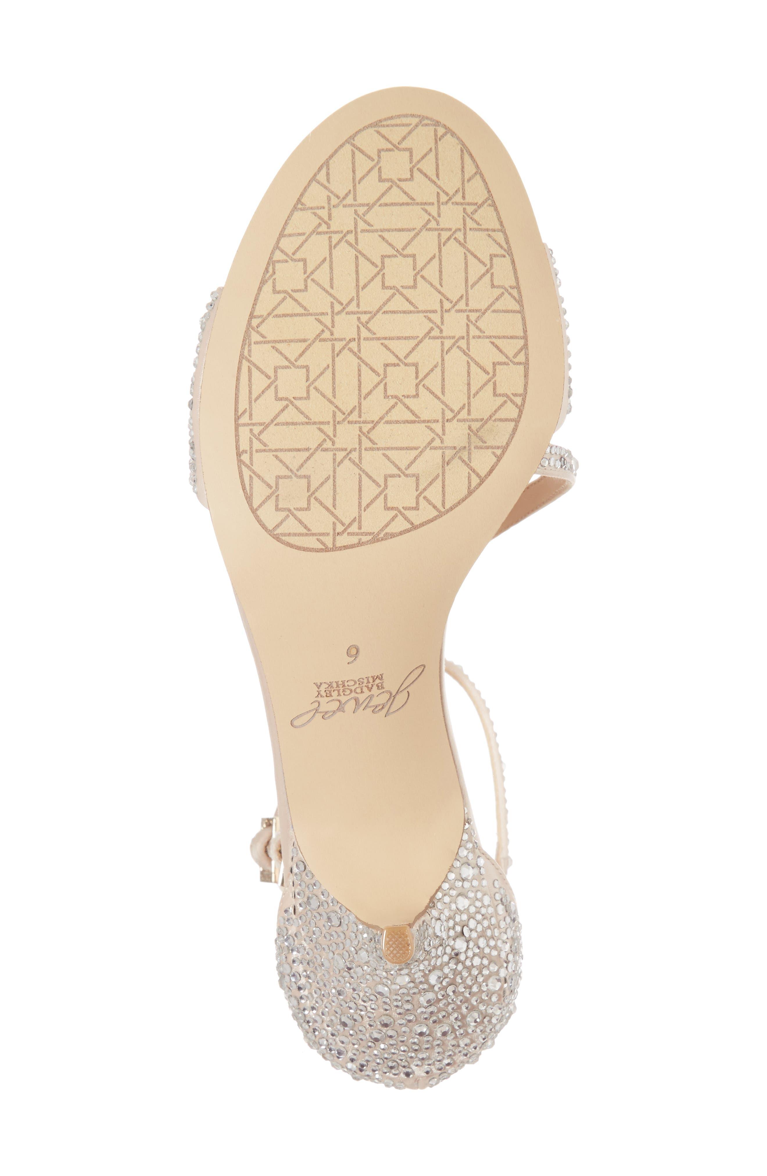 Tangerine Crystal Embellished Sandal,                             Alternate thumbnail 6, color,                             Champagne Satin
