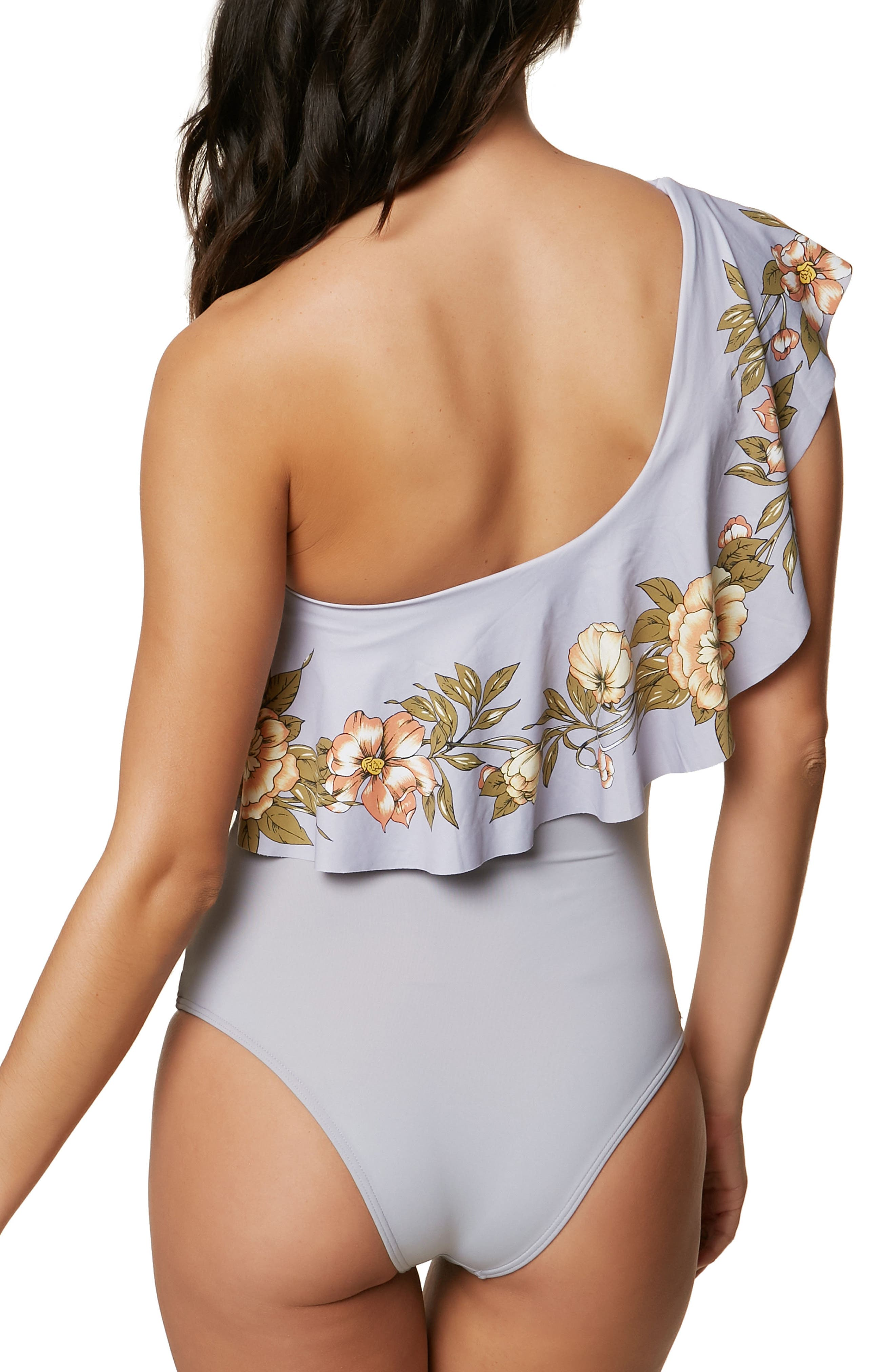 Aloha Floral Ruffle One-Piece Swimsuit,                             Alternate thumbnail 2, color,                             Blue Multi