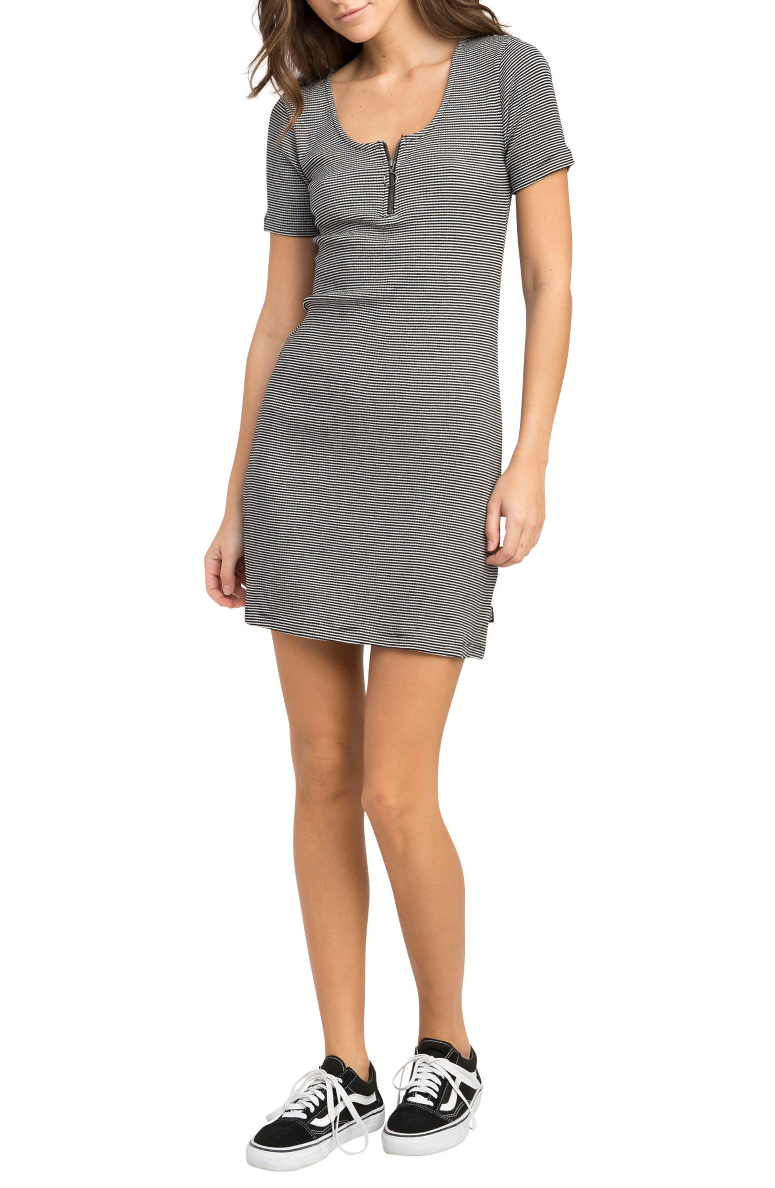 Zip It Striped Dress,                         Main,                         color, Black