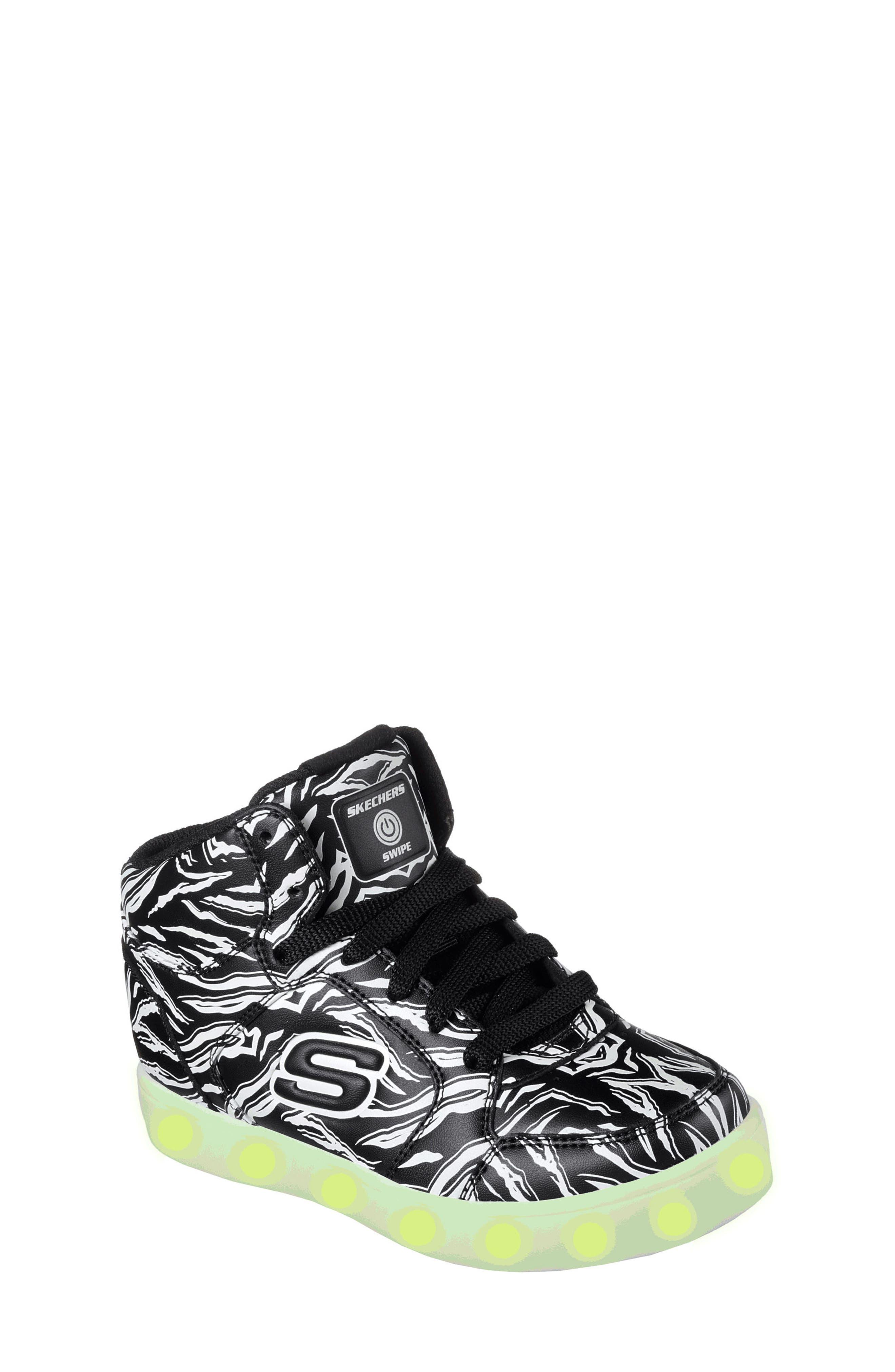 Energy Lights Glow in the Dark Sneaker,                             Alternate thumbnail 3, color,                             Black