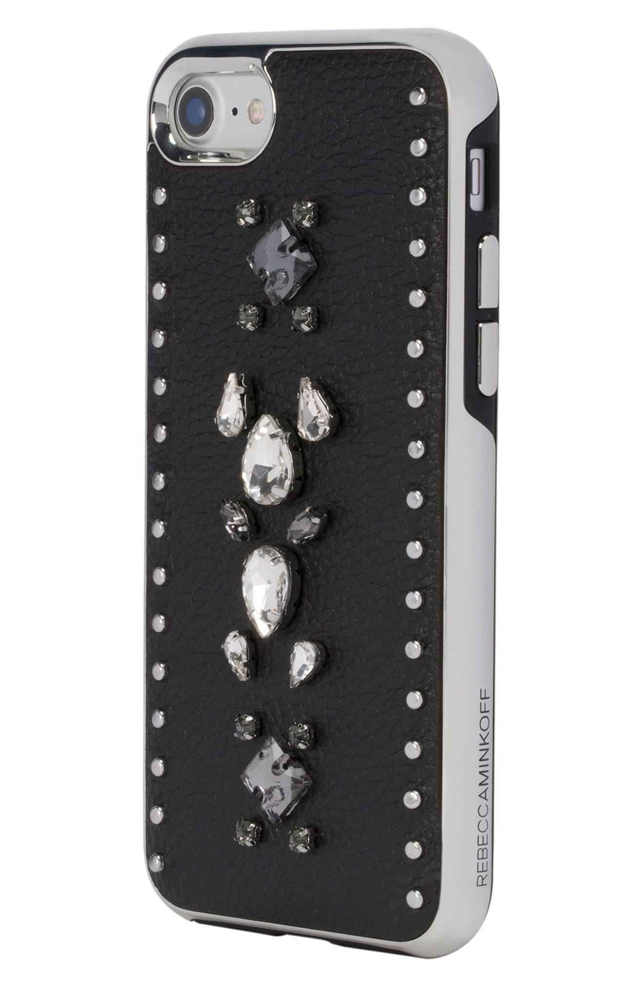Inlay Gem Leather iPhone 7/8 Plus Case,                             Alternate thumbnail 3, color,                             Multi Gems/ Studs/ Black