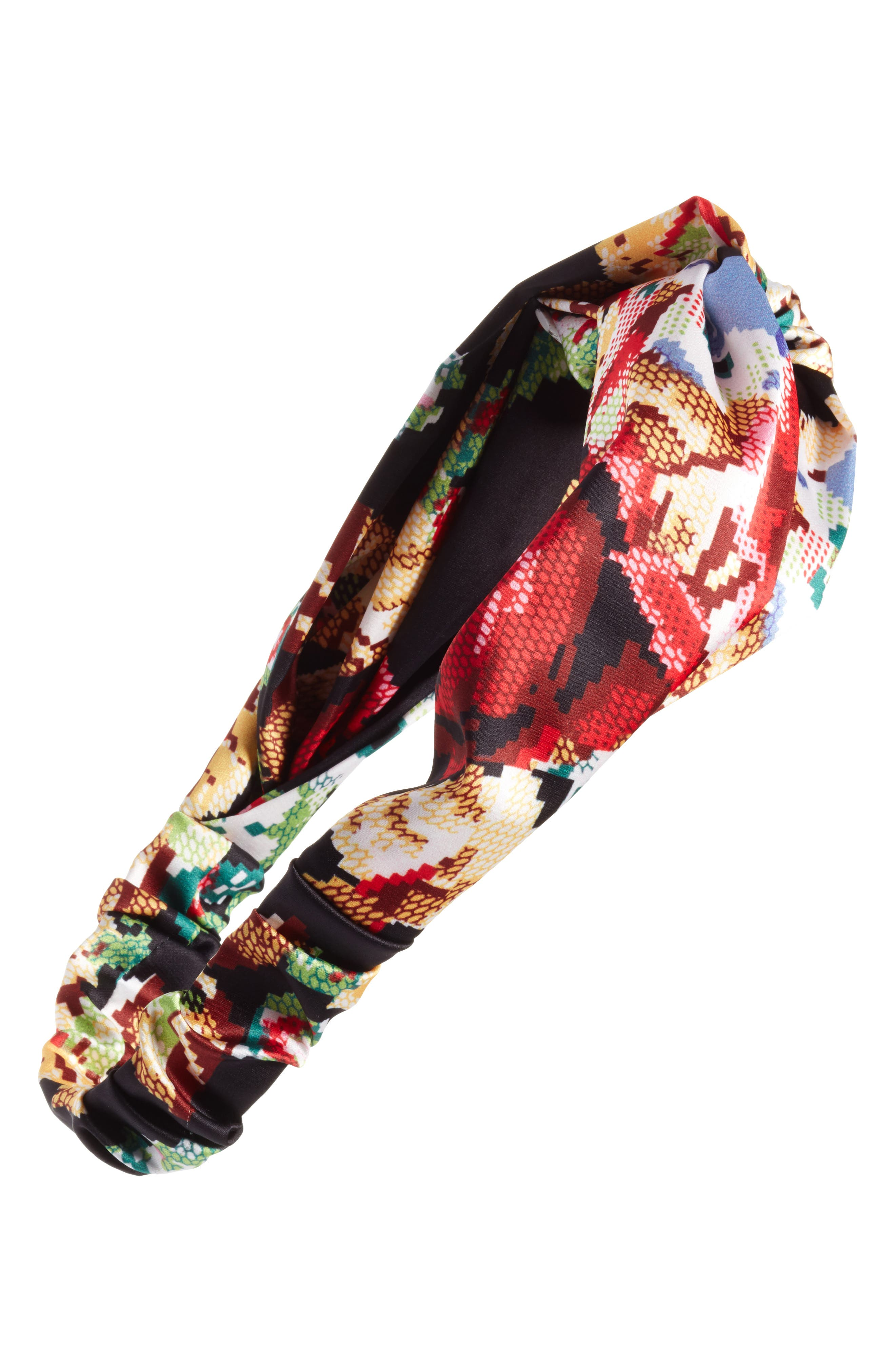 Floral Print Needle Point Twisted Head Wrap,                         Main,                         color, Black Multi