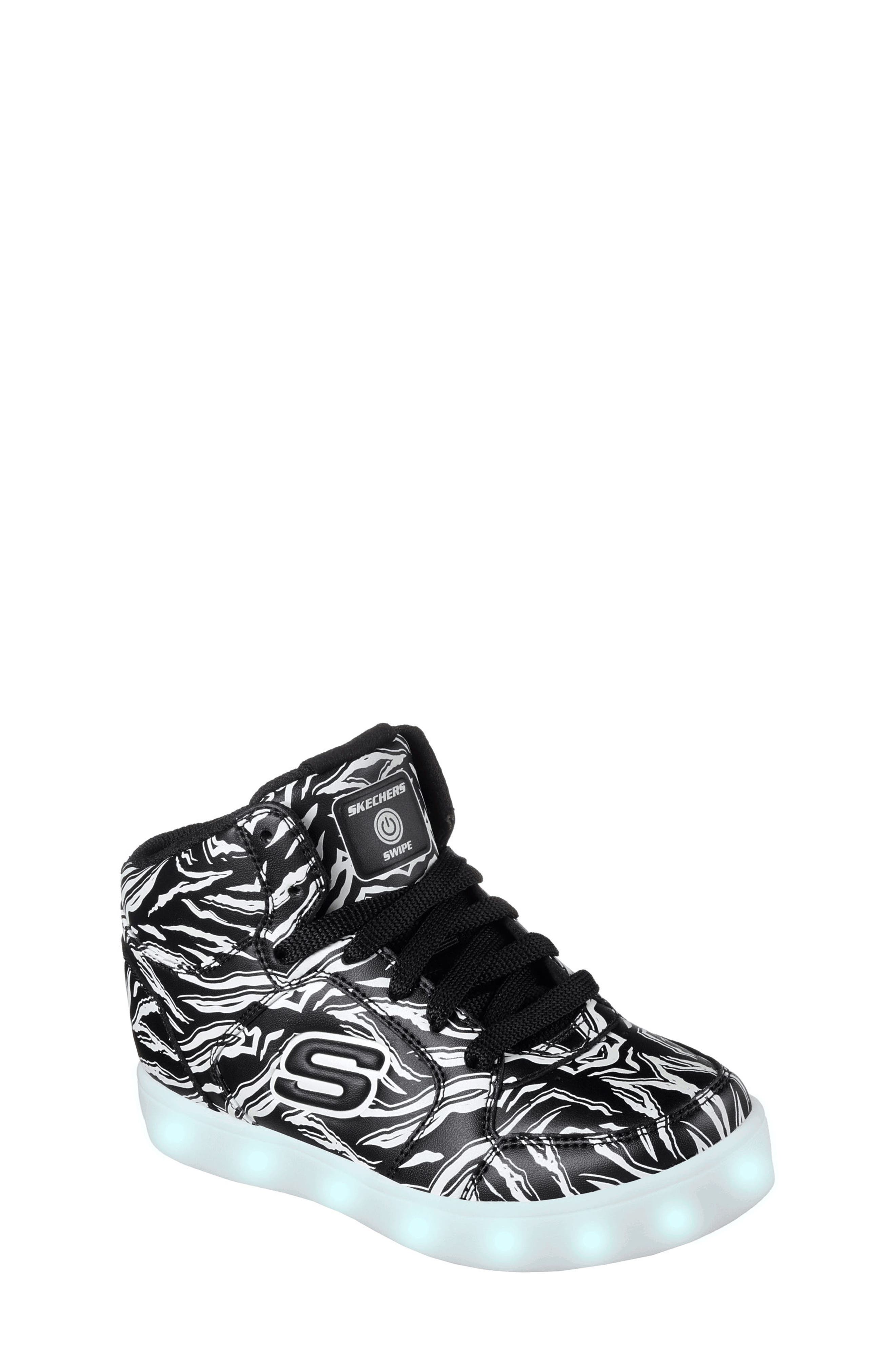 Energy Lights Glow in the Dark Sneaker,                             Alternate thumbnail 4, color,                             Black