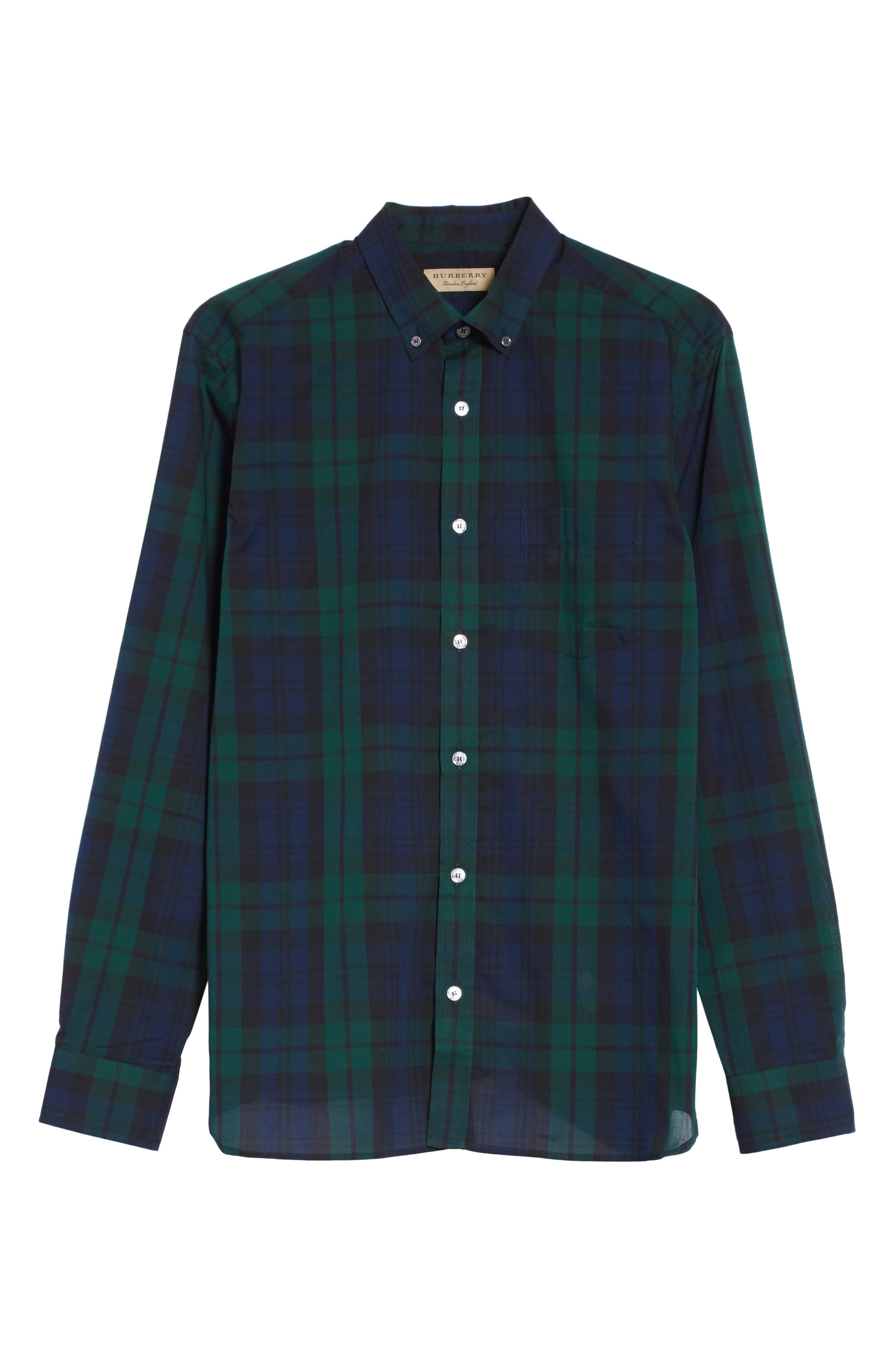 Salwick Tartan Plaid Sport Shirt,                             Alternate thumbnail 6, color,                             Navy