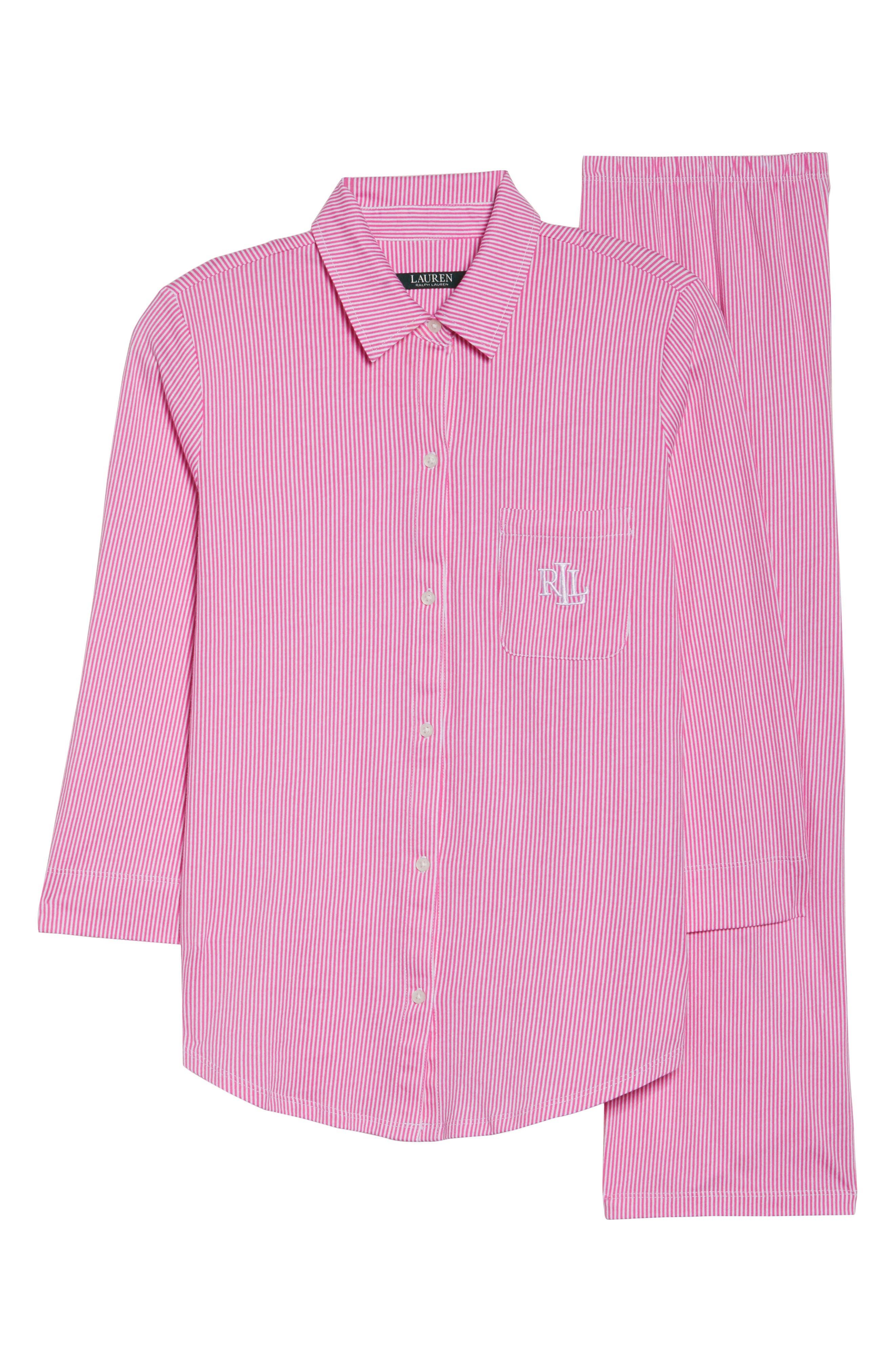 Crop Pajamas,                             Alternate thumbnail 4, color,                             Pink Stripe