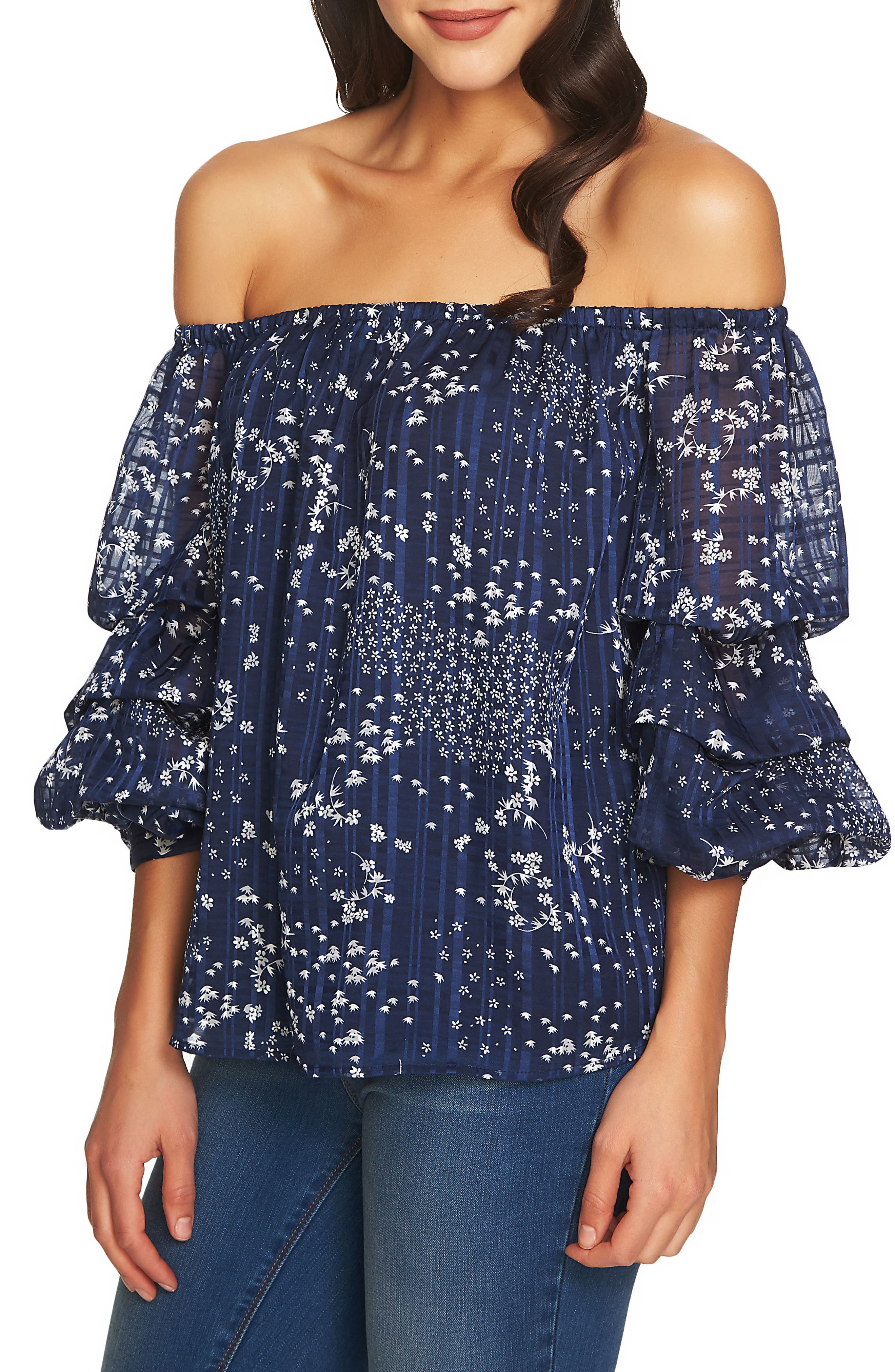 Off the Shoulder Top,                         Main,                         color, Navy Yard