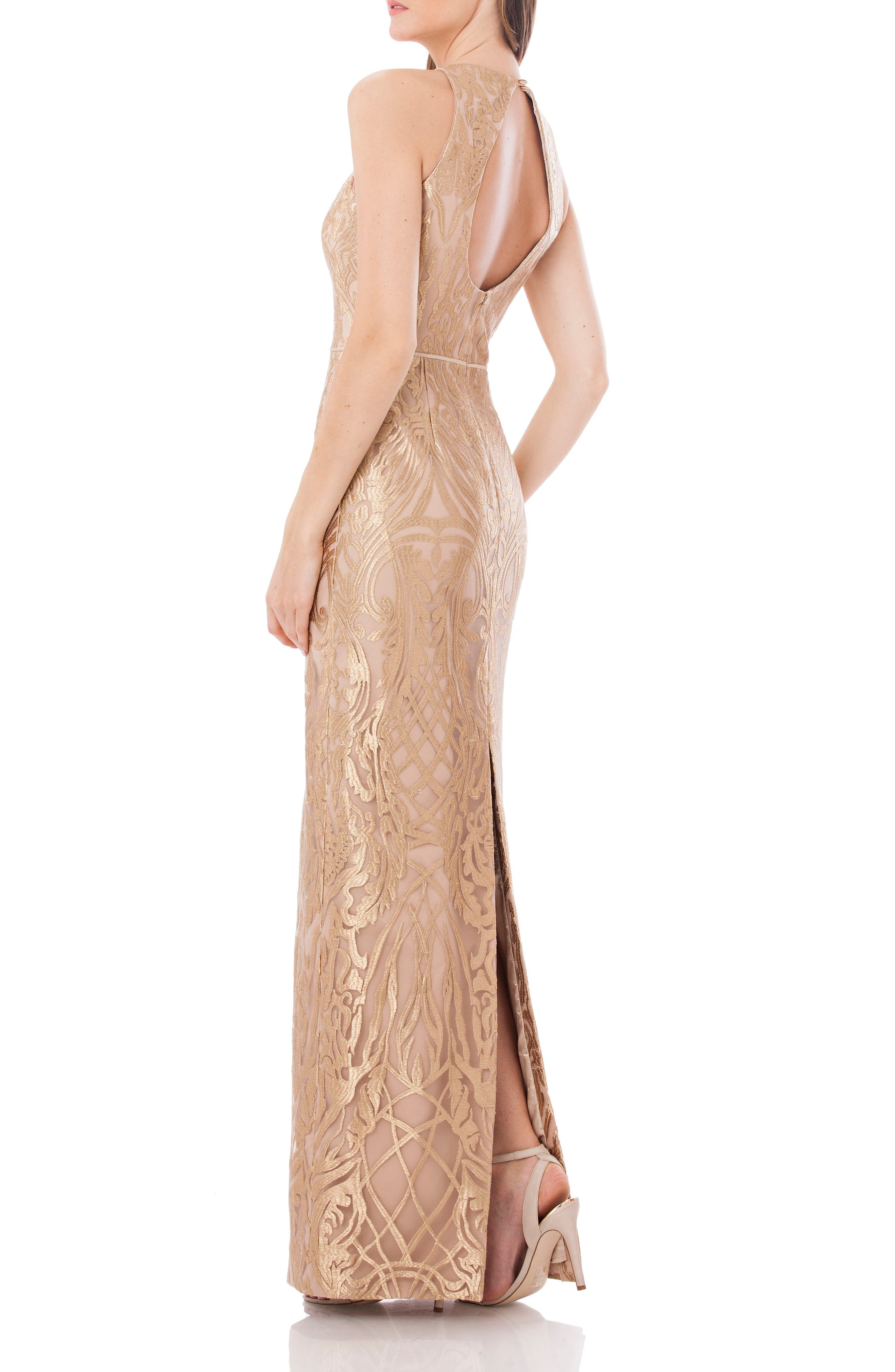 Alternate Image 2  - JS Collections Metallic Embroidered Halter Gown