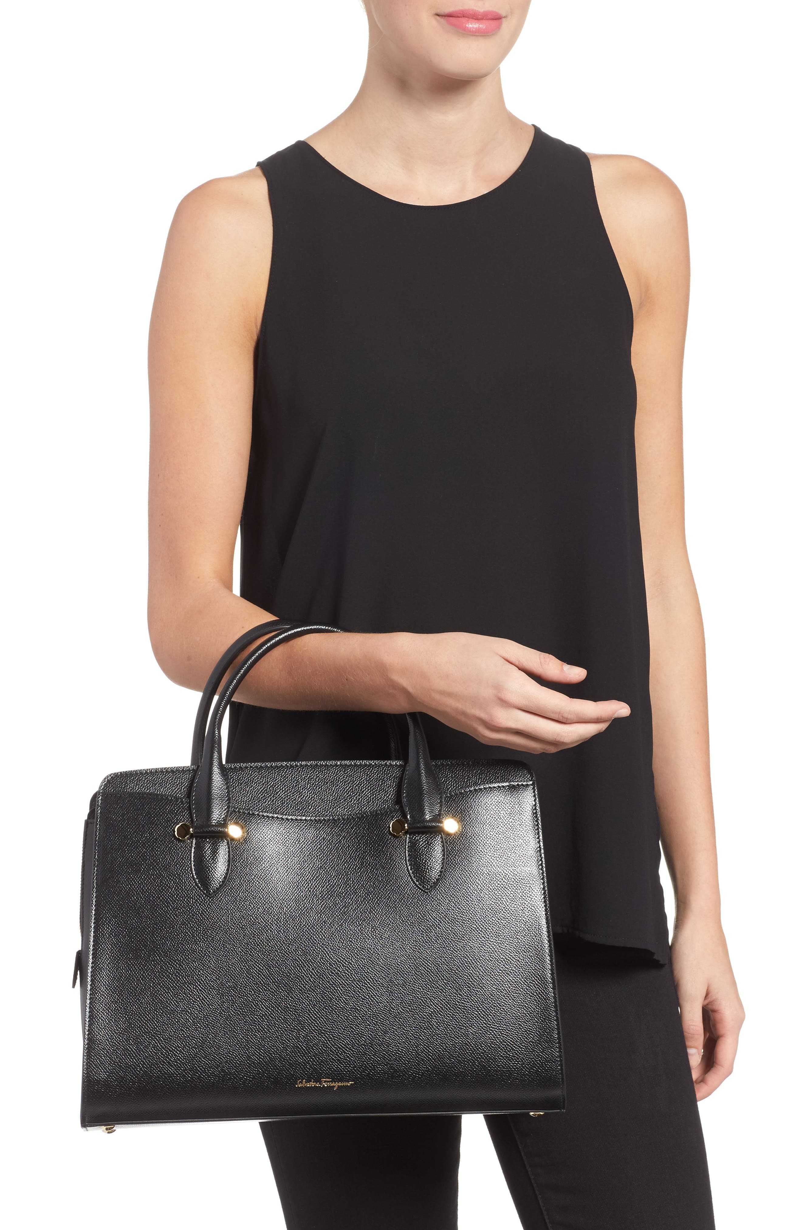 Small Today Leather Satchel,                             Alternate thumbnail 2, color,                             Nero