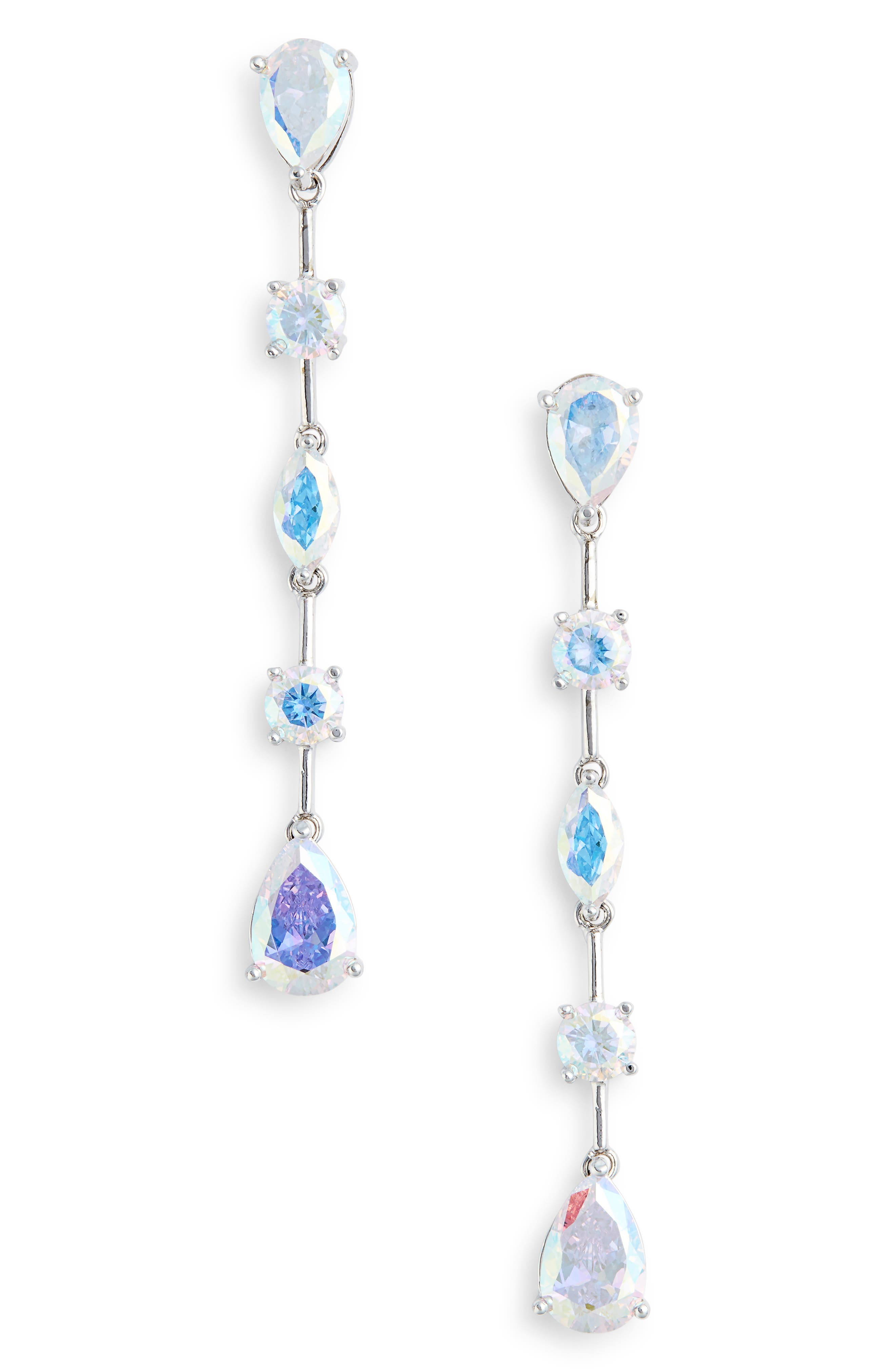 Cubic Zirconia Linear Drop Earrings,                             Main thumbnail 1, color,                             Silver/ Light Crystal