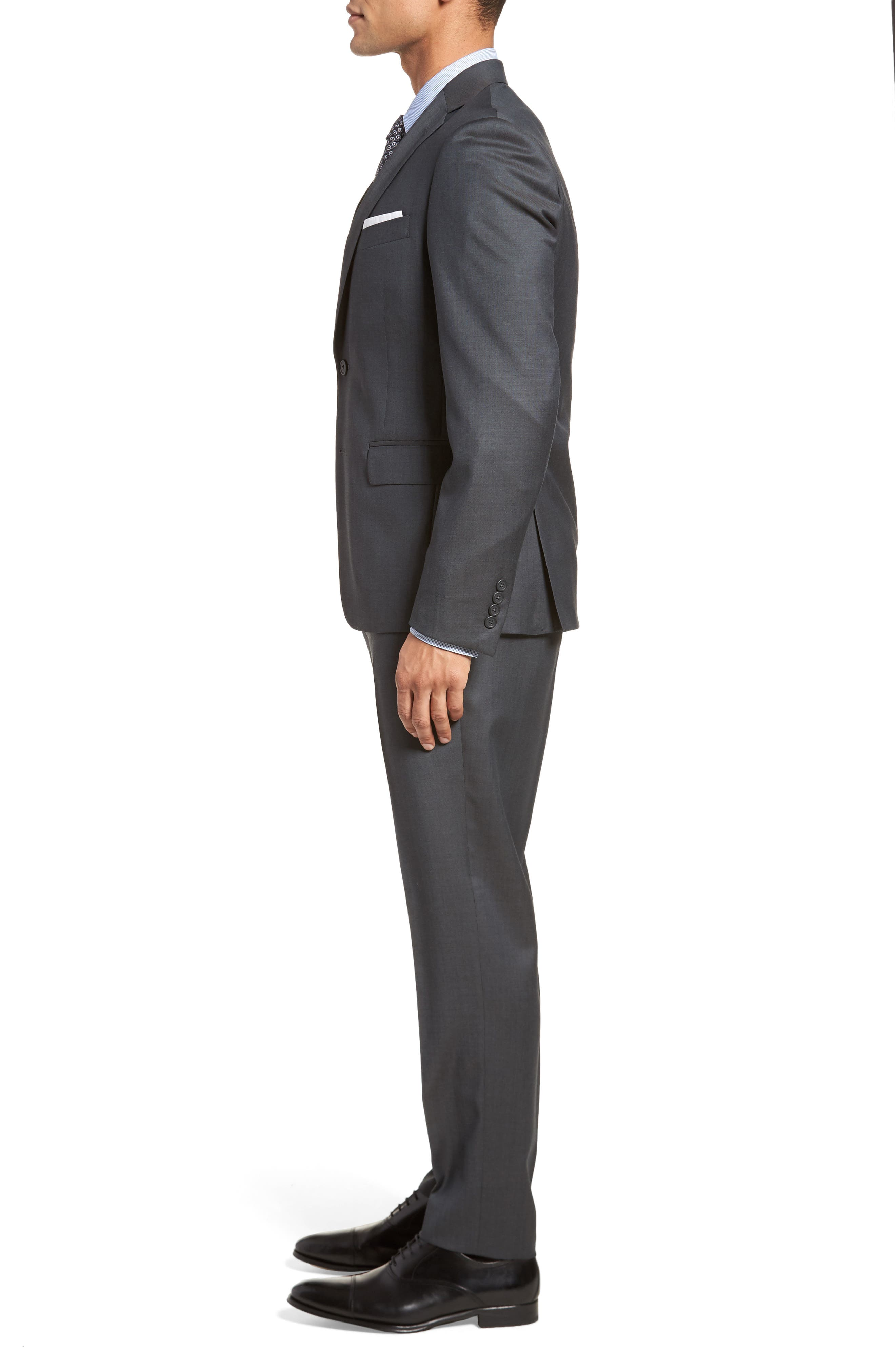 Extra Trim Fit Solid Wool Suit,                             Alternate thumbnail 3, color,                             Charcoal