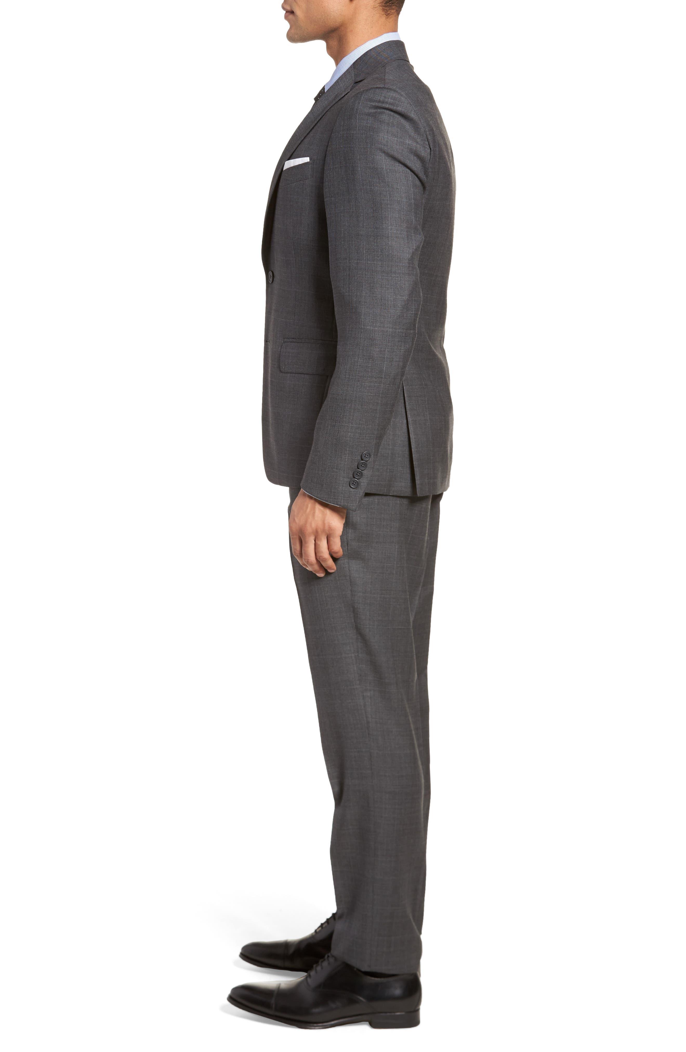Extra Trim Fit Plaid Wool Suit,                             Alternate thumbnail 3, color,                             Grey