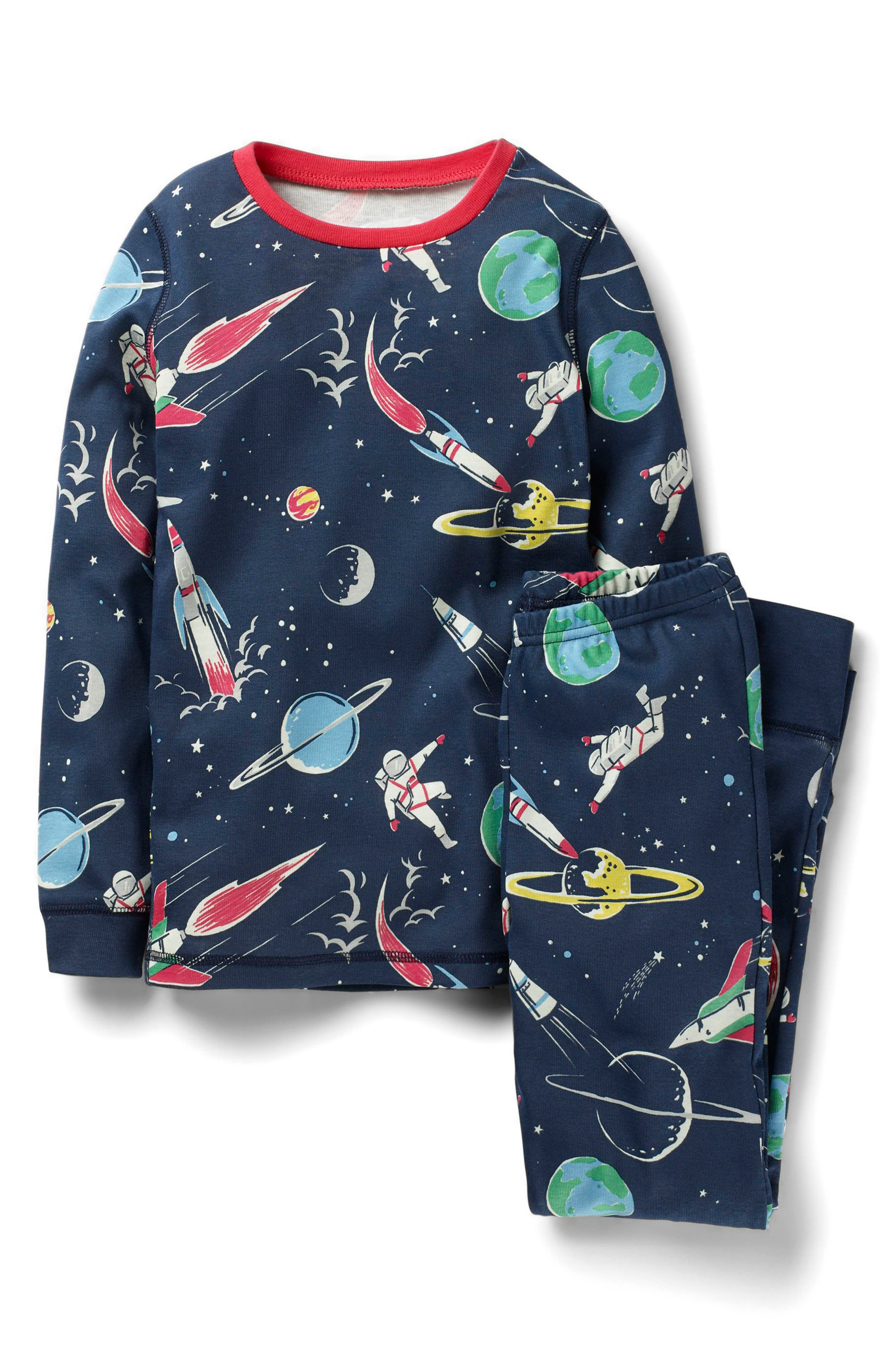 Mini Boden Space Glow in the Dark Fitted Two-Piece Pajamas (Toddler Girls, Little Girls & Big Girls)