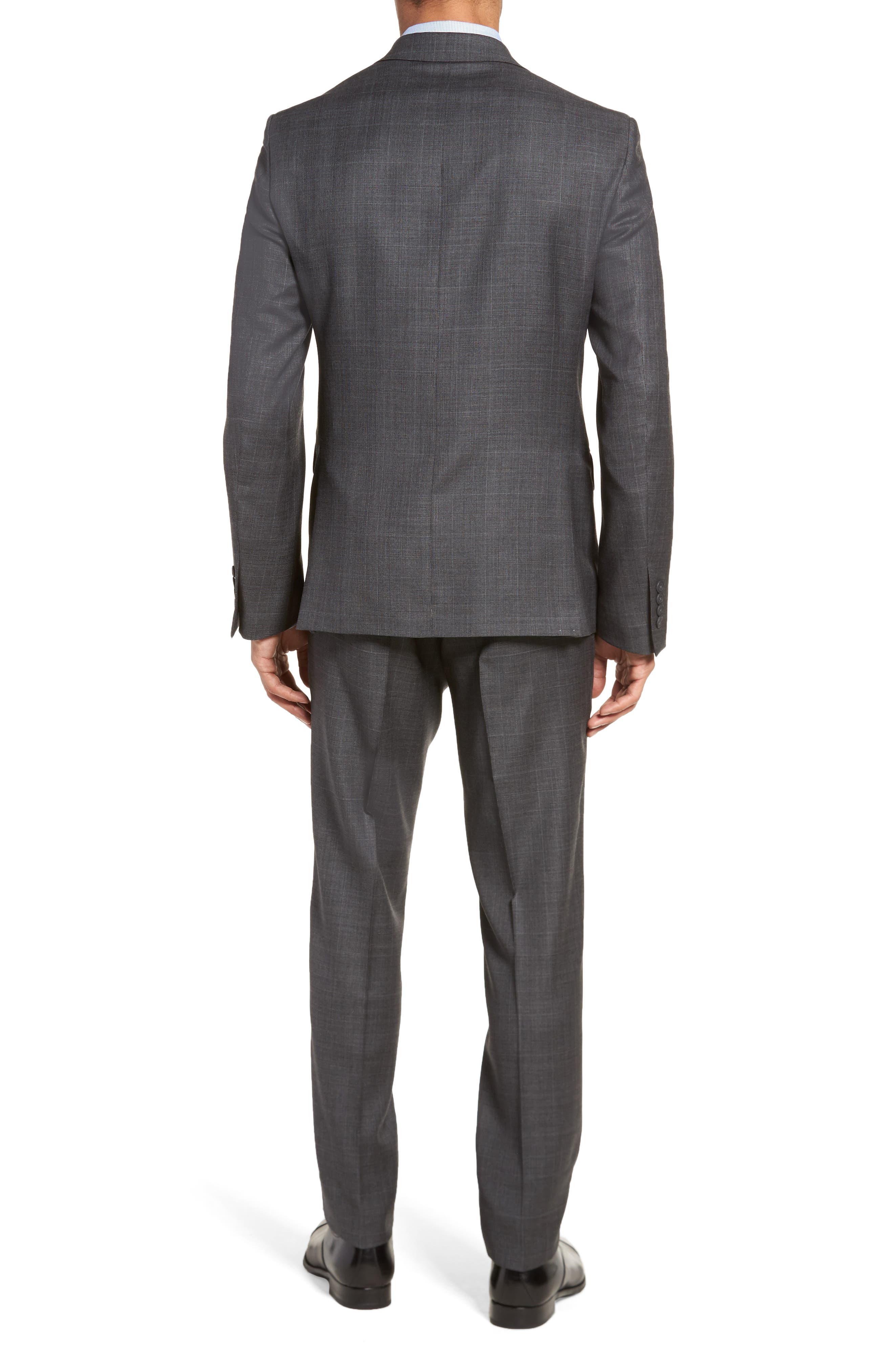 Extra Trim Fit Plaid Wool Suit,                             Alternate thumbnail 2, color,                             Grey