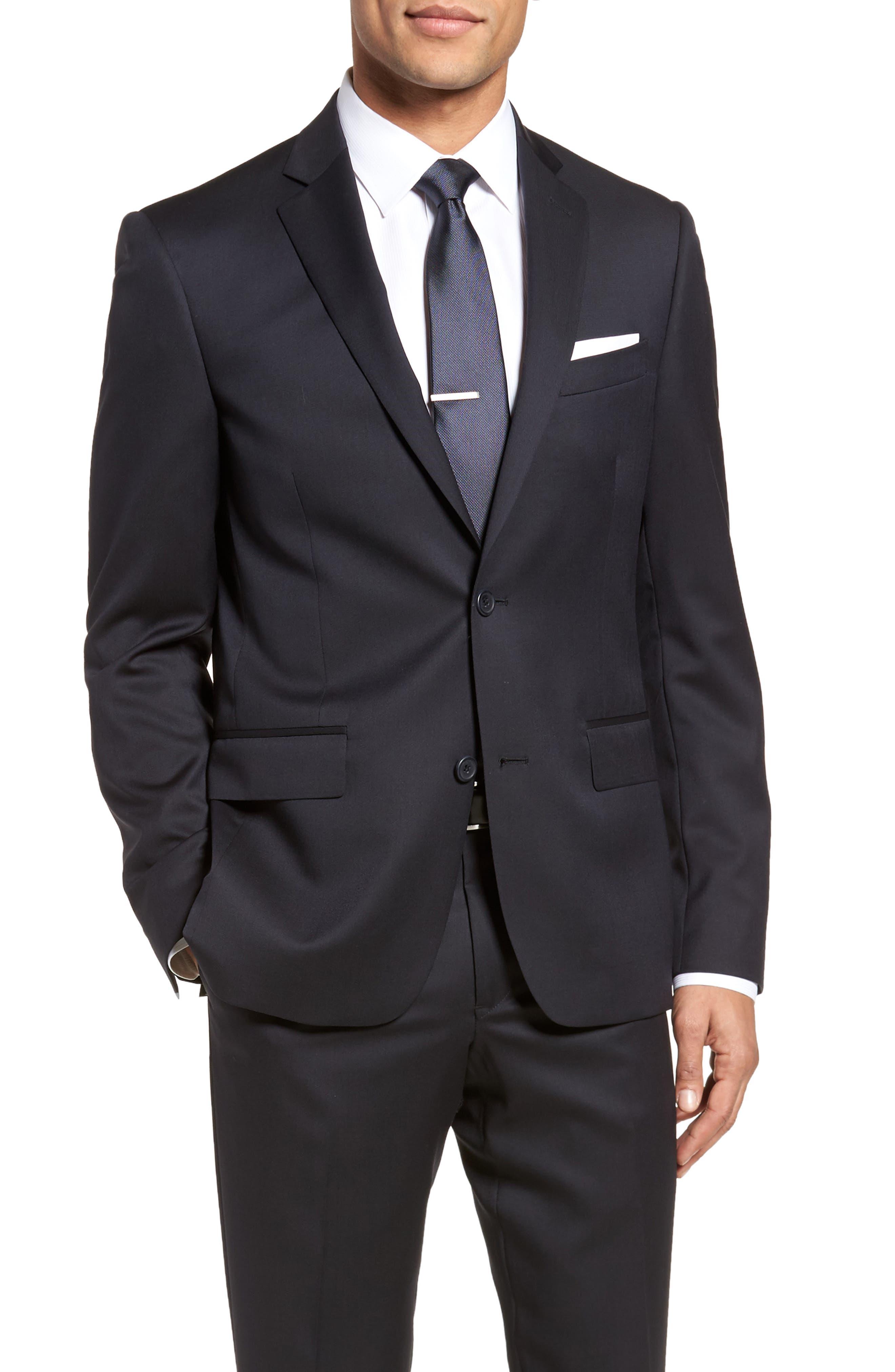 Trim Fit Solid Wool Suit,                             Alternate thumbnail 5, color,                             Navy
