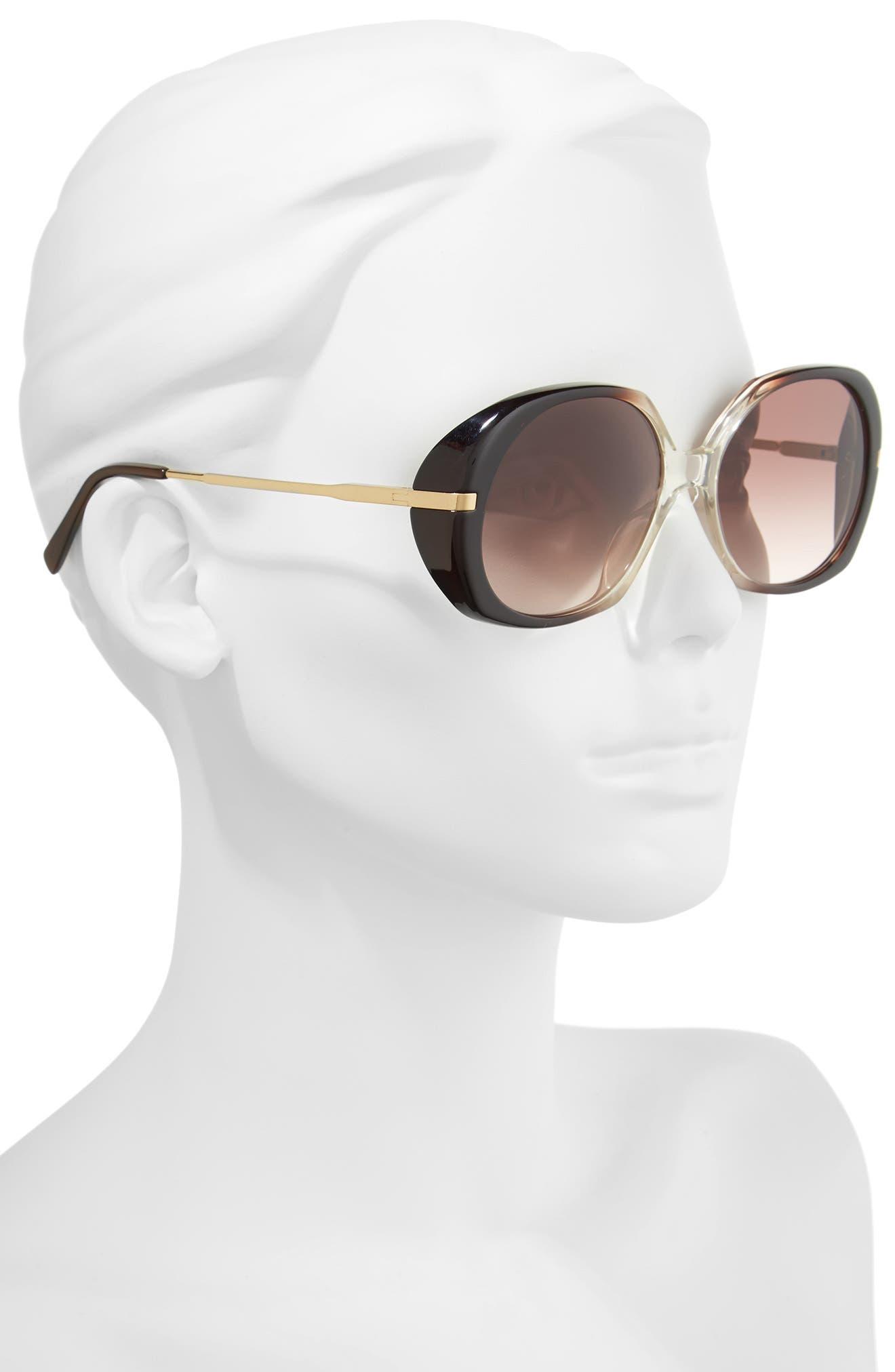 56mm Round Sunglasses,                             Alternate thumbnail 2, color,                             Dark Brown/ Light Gold/ Brown
