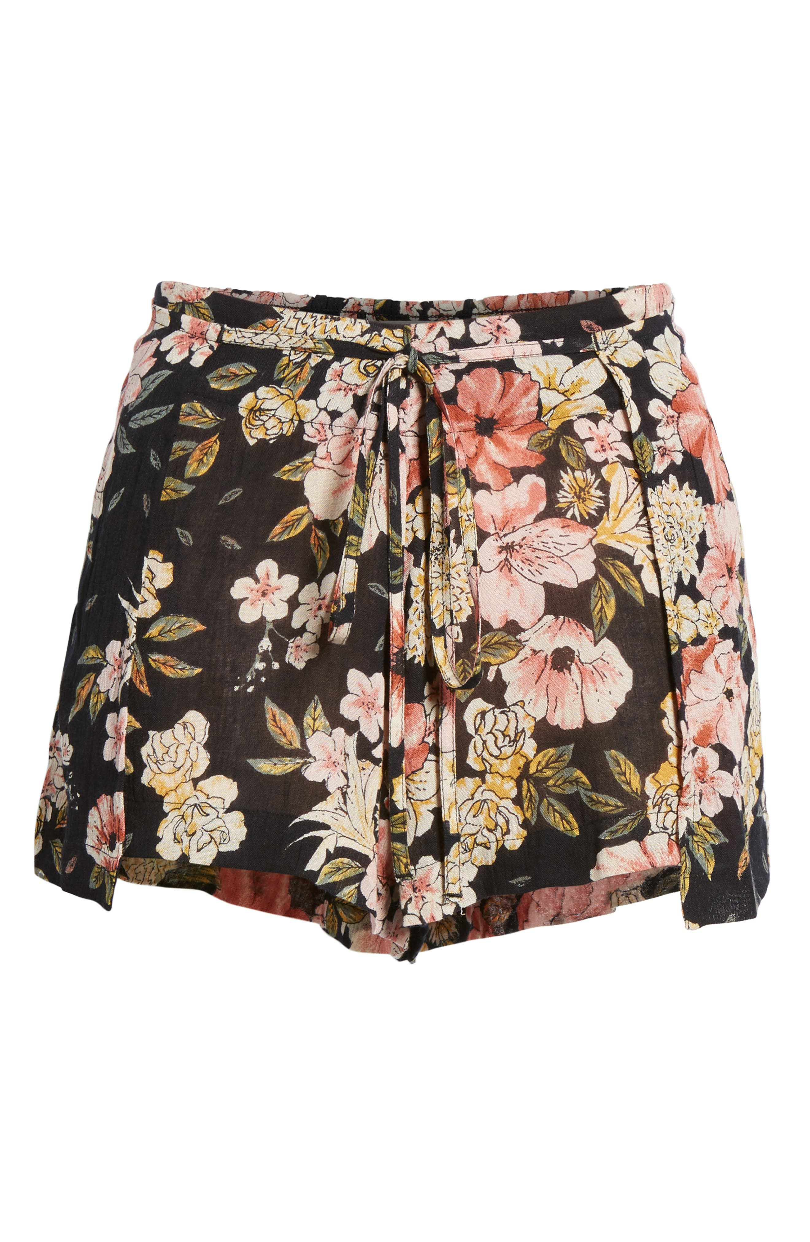 Trippy Day Floral Print Shorts,                             Alternate thumbnail 7, color,                             Black